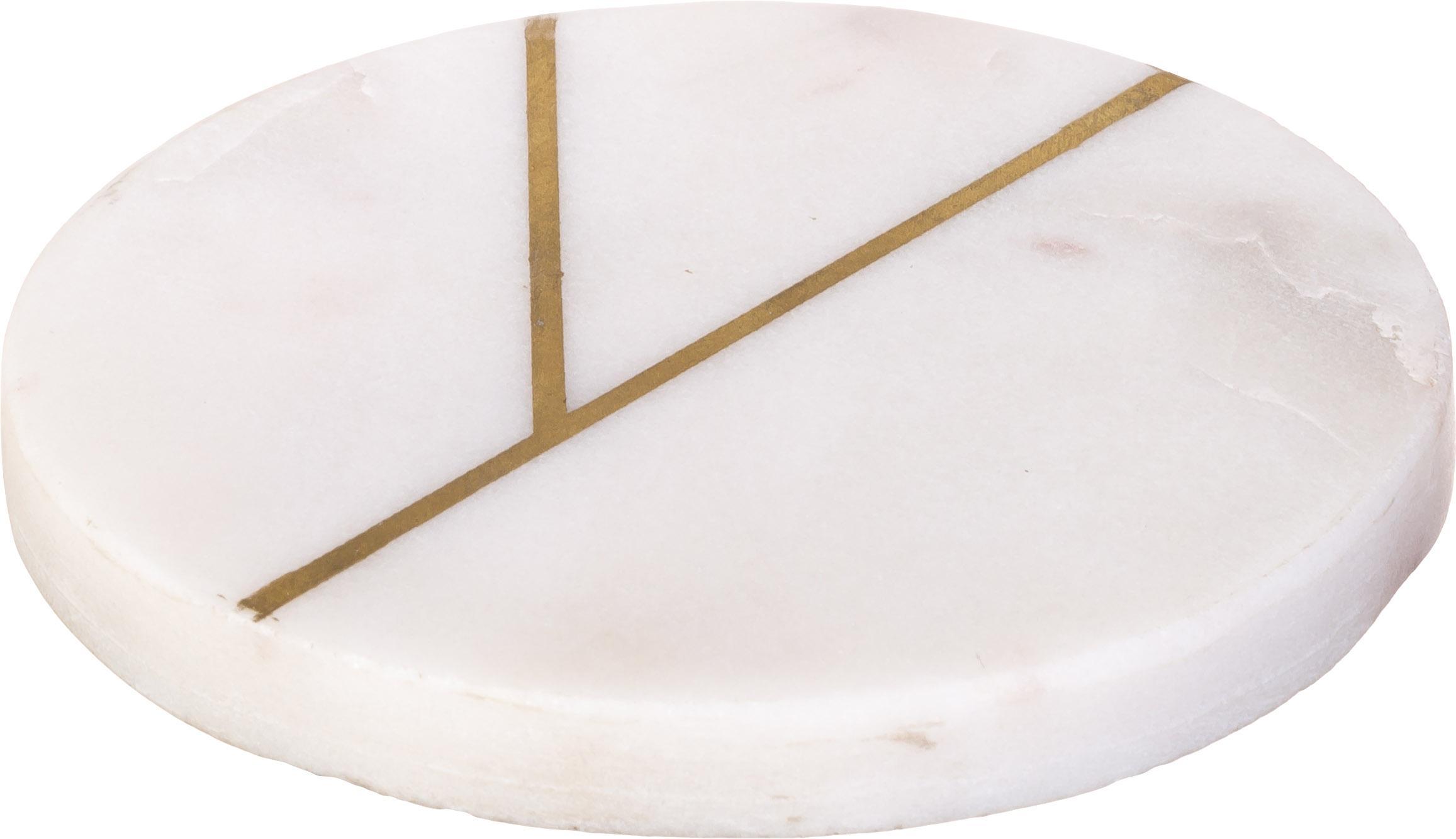 Marmeren onderzetters Marek, 4 stuks, Marmer, Gemarmerd wit, goudkleurig, Ø 10 x H 1 cm