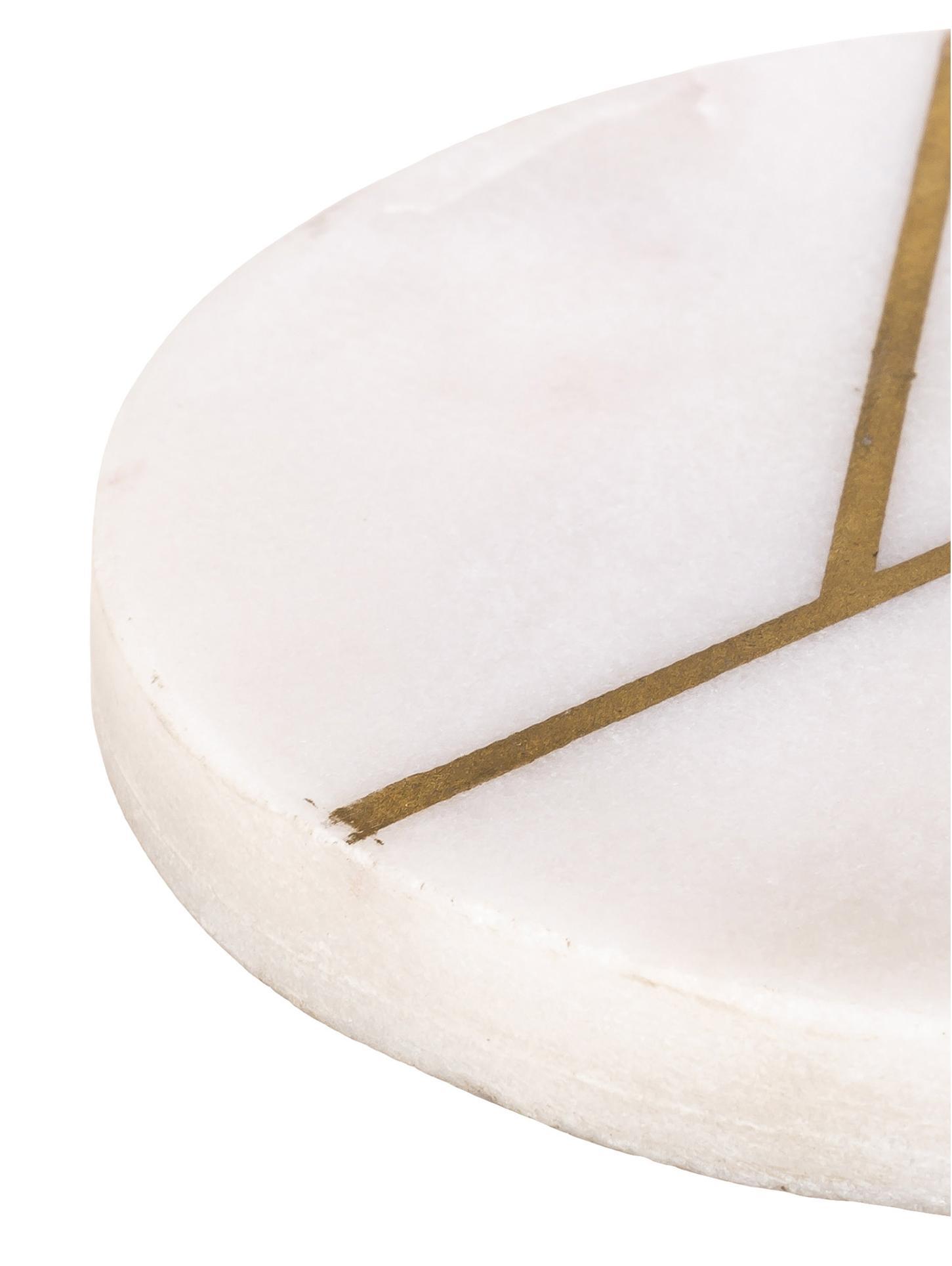 Marmor-Untersetzer Marek, 4 Stück, Marmor, Weiss marmoriert, Goldfarben, Ø 10 x H 1 cm
