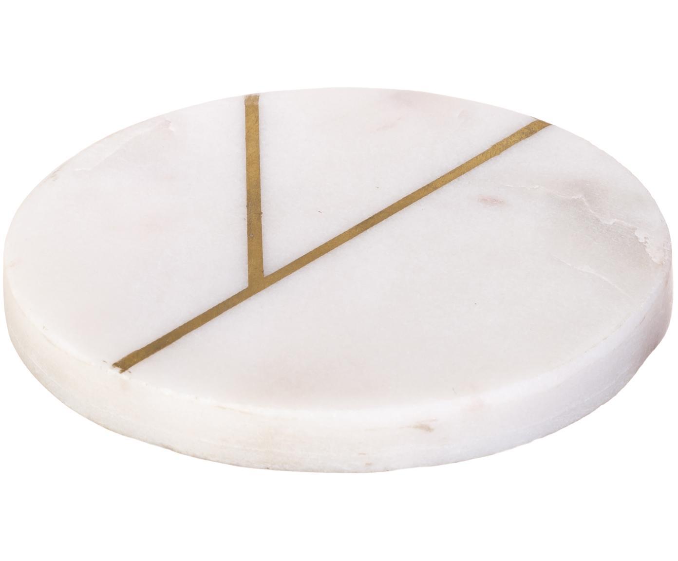 Sottobicchieri in marmo Marek, 4 pz., Marmo, Bianco marmorizzato, dorato, Ø 10 x A 1 cm