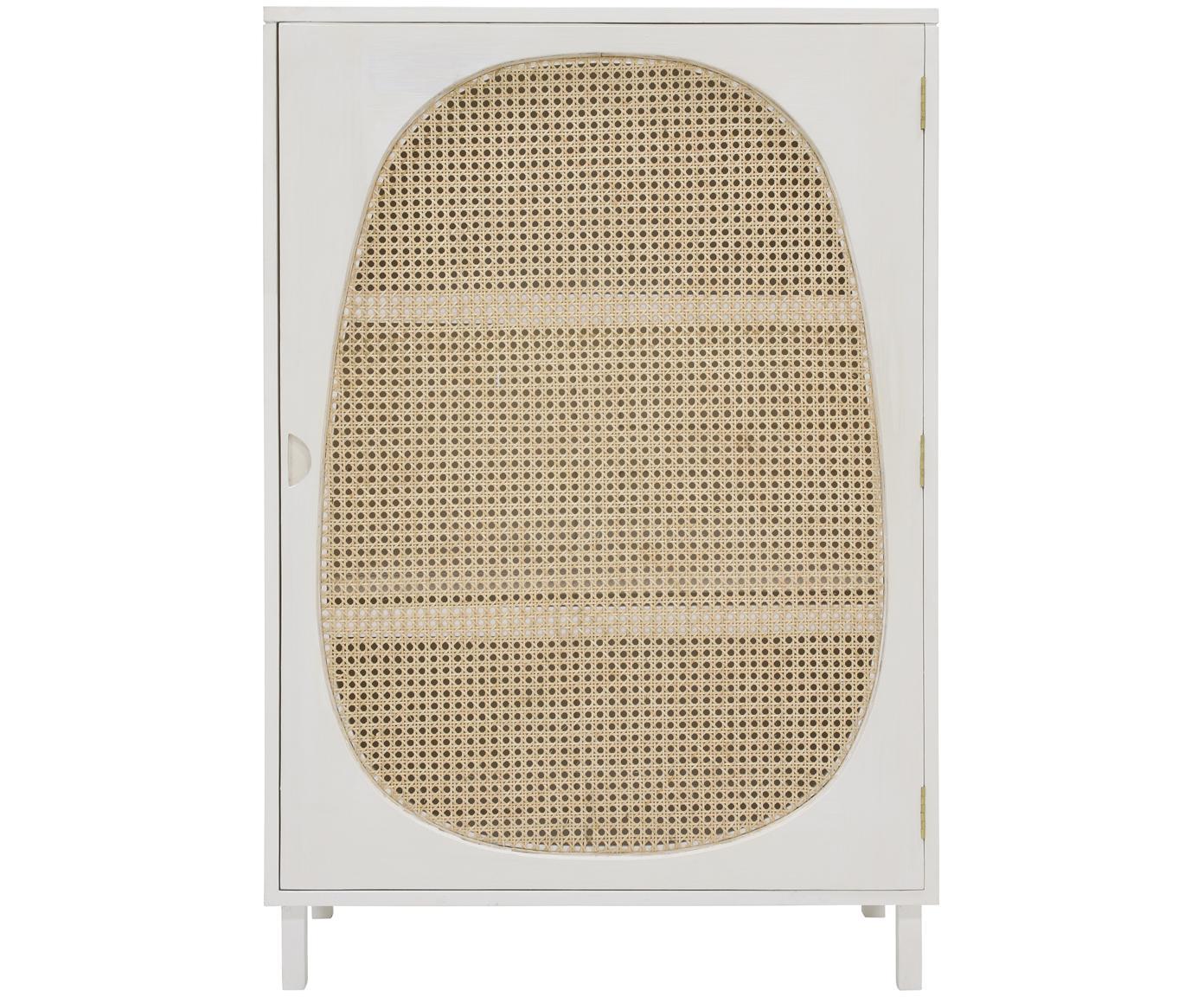 Kast Retro met Weens vlechtwerk, Handvatten: gecoat metaal, Oud wit, beige, 85 x 122 cm