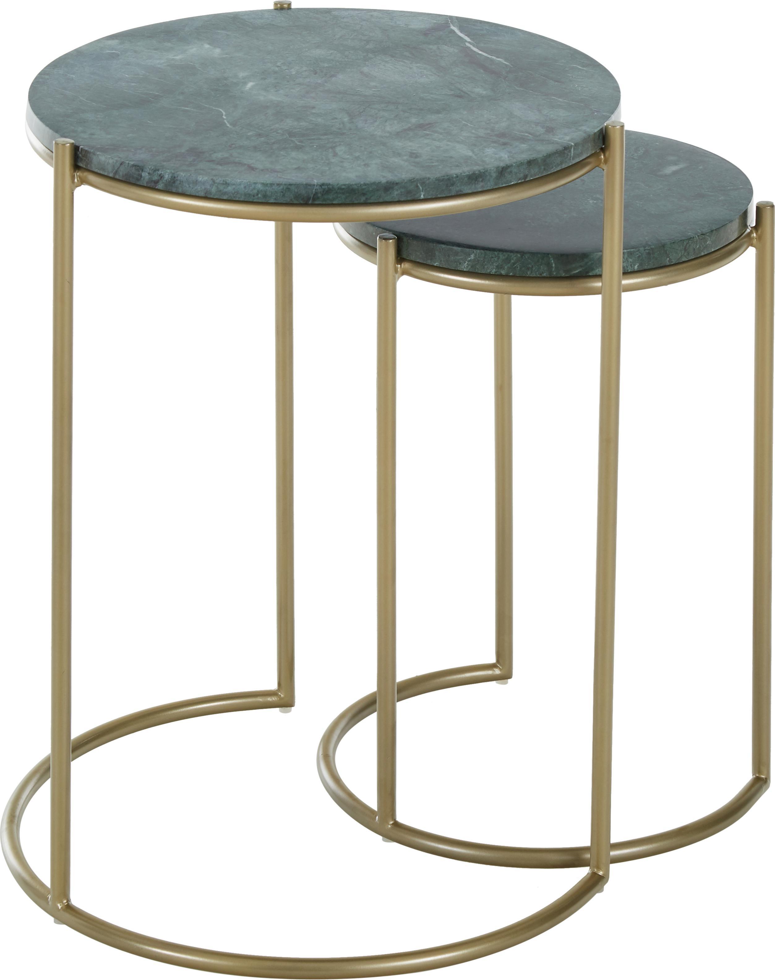 Set 2 tavolini in marmo Ella, Ripiani: marmo, Struttura: metallo verniciato a polv, Piani d'appoggio: marmo verde Struttura: dorato opaco, Set in varie misure