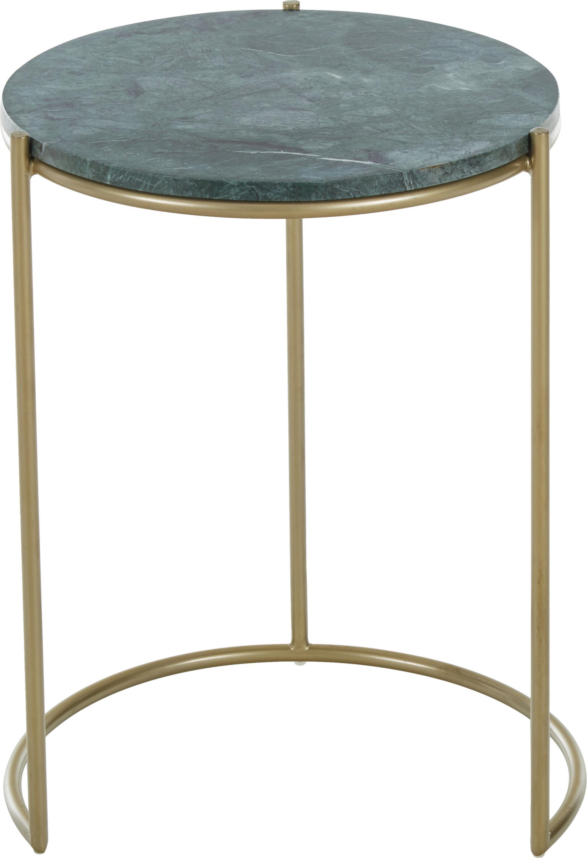 Marmor-Beistelltisch-Set Ella, Tischplatten: Grüner Marmor Gestelle: Goldfarben, matt, Sondergrößen