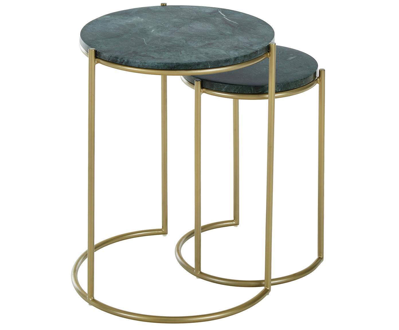 Komplet stolików pomocniczych z marmuru Ella, Stelaż: marmur naturalny, Stelaż: metal malowany proszkowo, Blaty: szary marmur Regał: odcienie złotego, matowy, Różne rozmiary