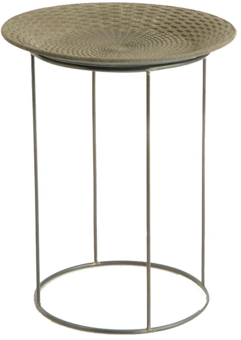Mesa auxiliar Corbeille, Cesta: rejilla, Beige, negro, Ø 49 x Al 61 cm