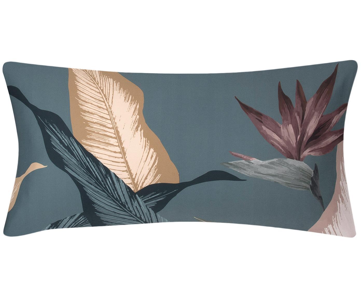 Baumwollsatin-Kissenbezüge Flora in Potral, 2 Stück, Webart: Satin Fadendichte 210 TC,, Vorderseite: MehrfarbigRückseite: Petrol, 40 x 80 cm