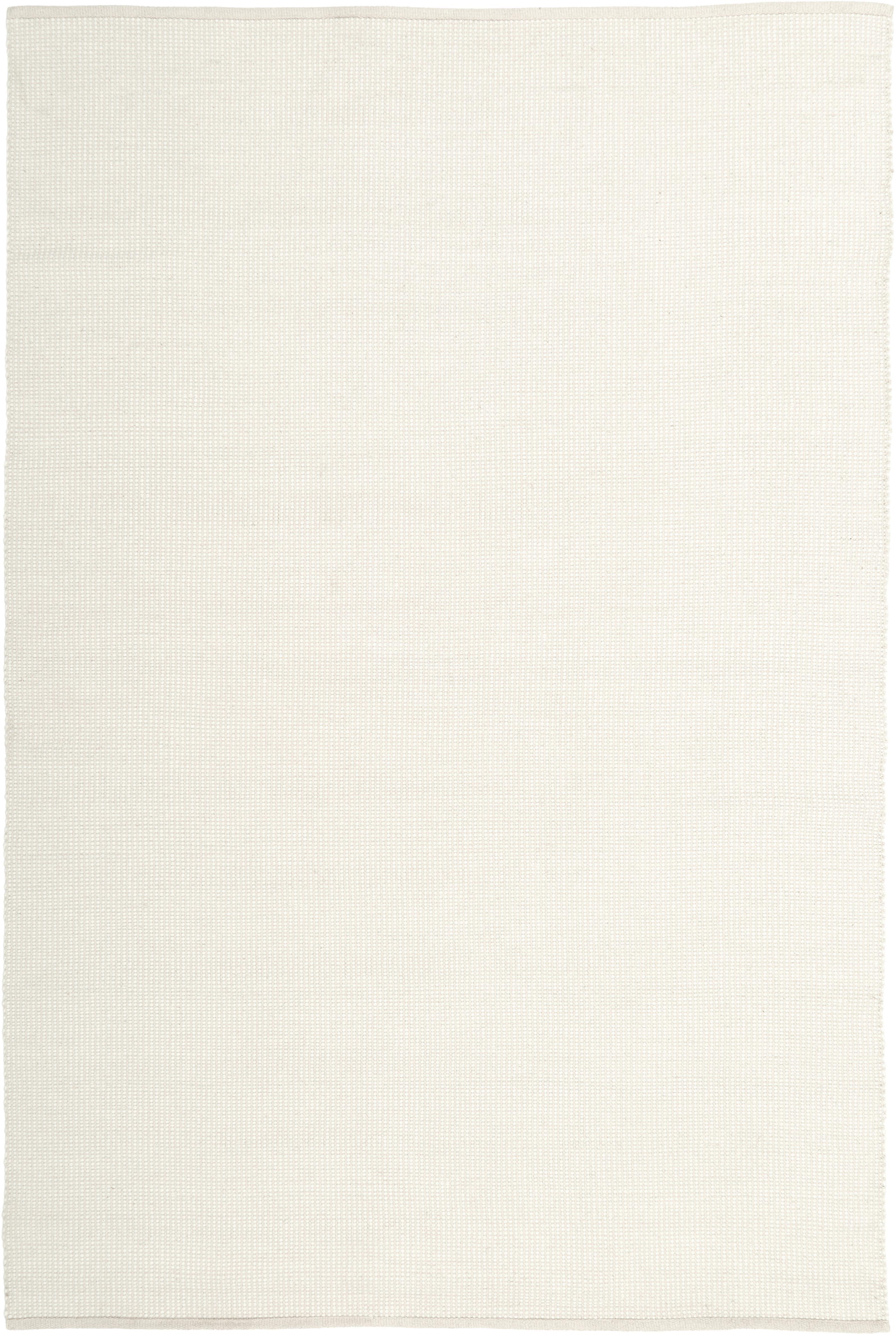 Alfombra artesanal de lana Amaro, 38%lana, 22%poliéster, 20%algodón, 20%poliamida, Blanco crema, An 120 x L 180  cm(Tamaño S)