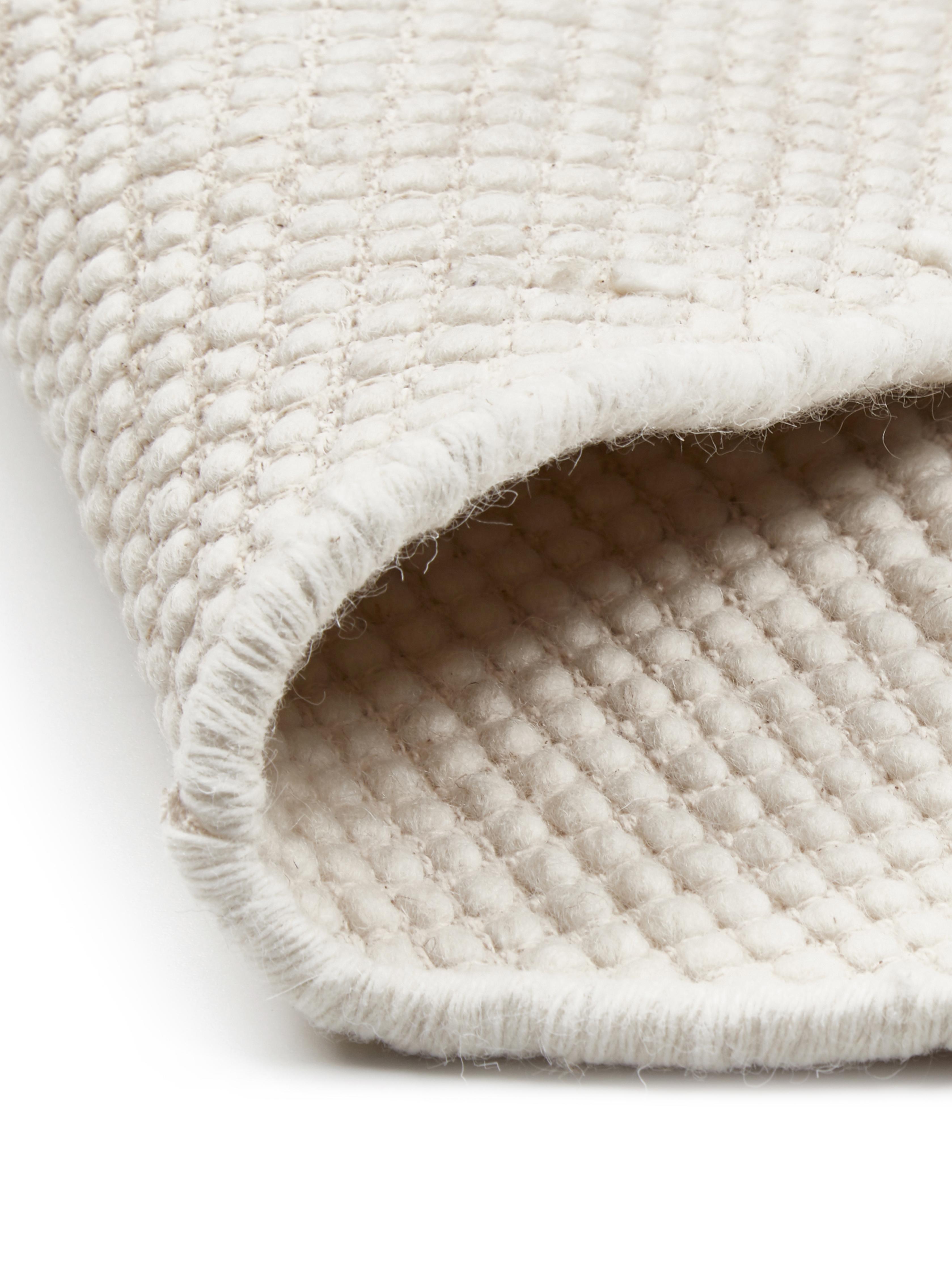 Handgewebter Wollteppich Amaro in Creme, 38% Wolle, 22% Polyester, 20% Baumwolle, 20% Polyamid, Cremeweiß, B 160 x L 230 cm (Größe M)