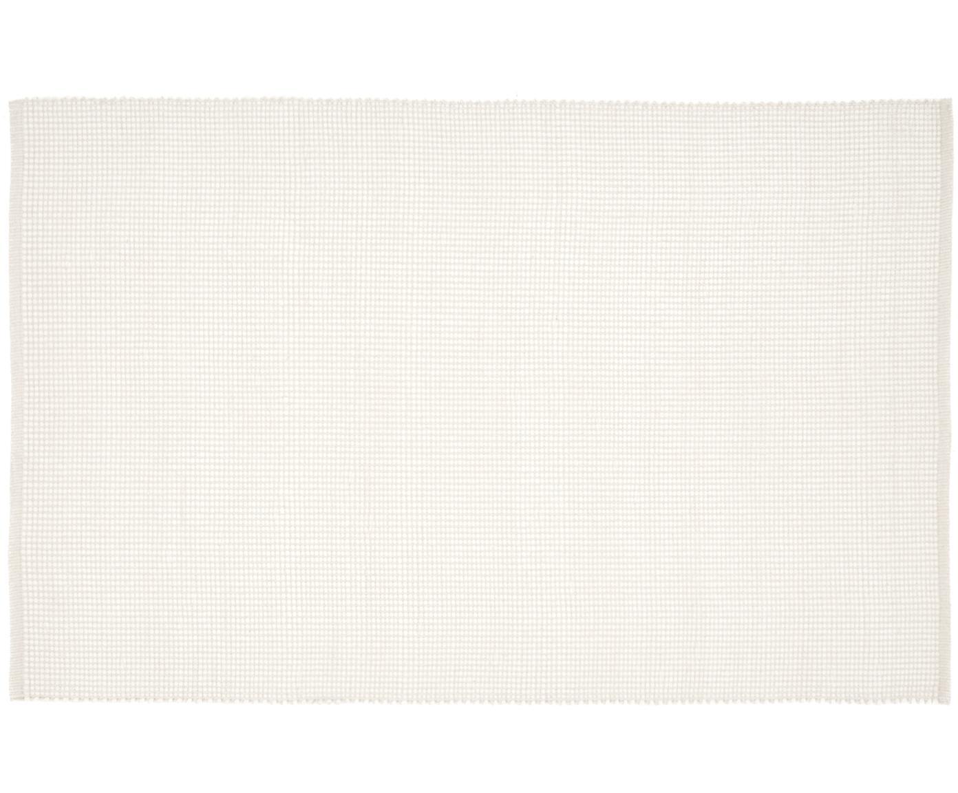 Alfombra artesanal de lana Amaro, 38%lana, 22%poliéster, 20%algodón, 20%poliamida, Blanco crema, An 120 x L 180 cm (Tamaño S)