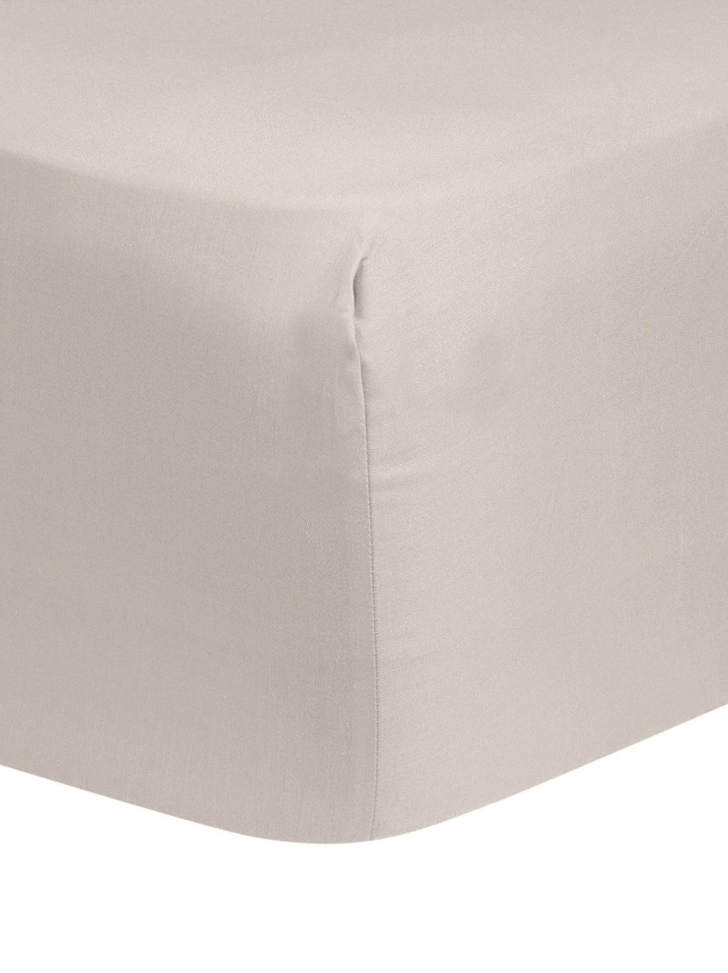 Lenzuolo con angoli in raso di cotone Comfort, Taupe, Larg. 90 x Lung. 200 cm