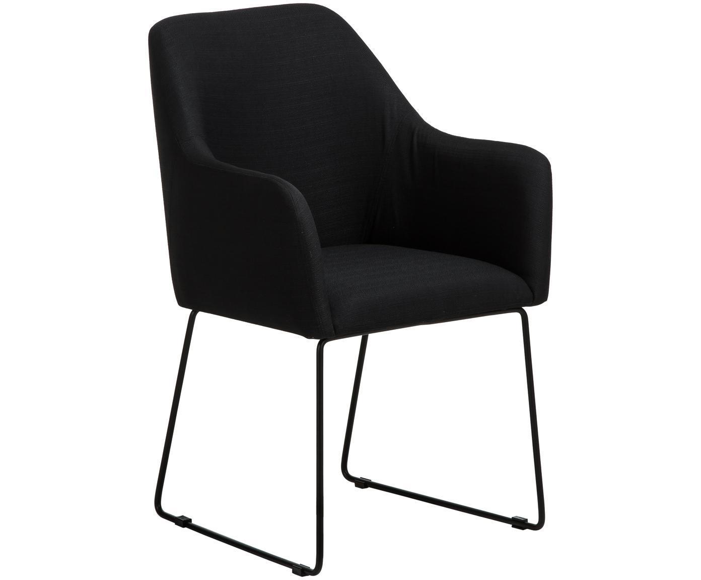Sedia in velluto con braccioli Isla, Rivestimento: poliestere 50.000 cicli d, Gambe: metallo verniciato a polv, Tessuto nero, gambe nere, Larg. 58 x Prof. 62 cm