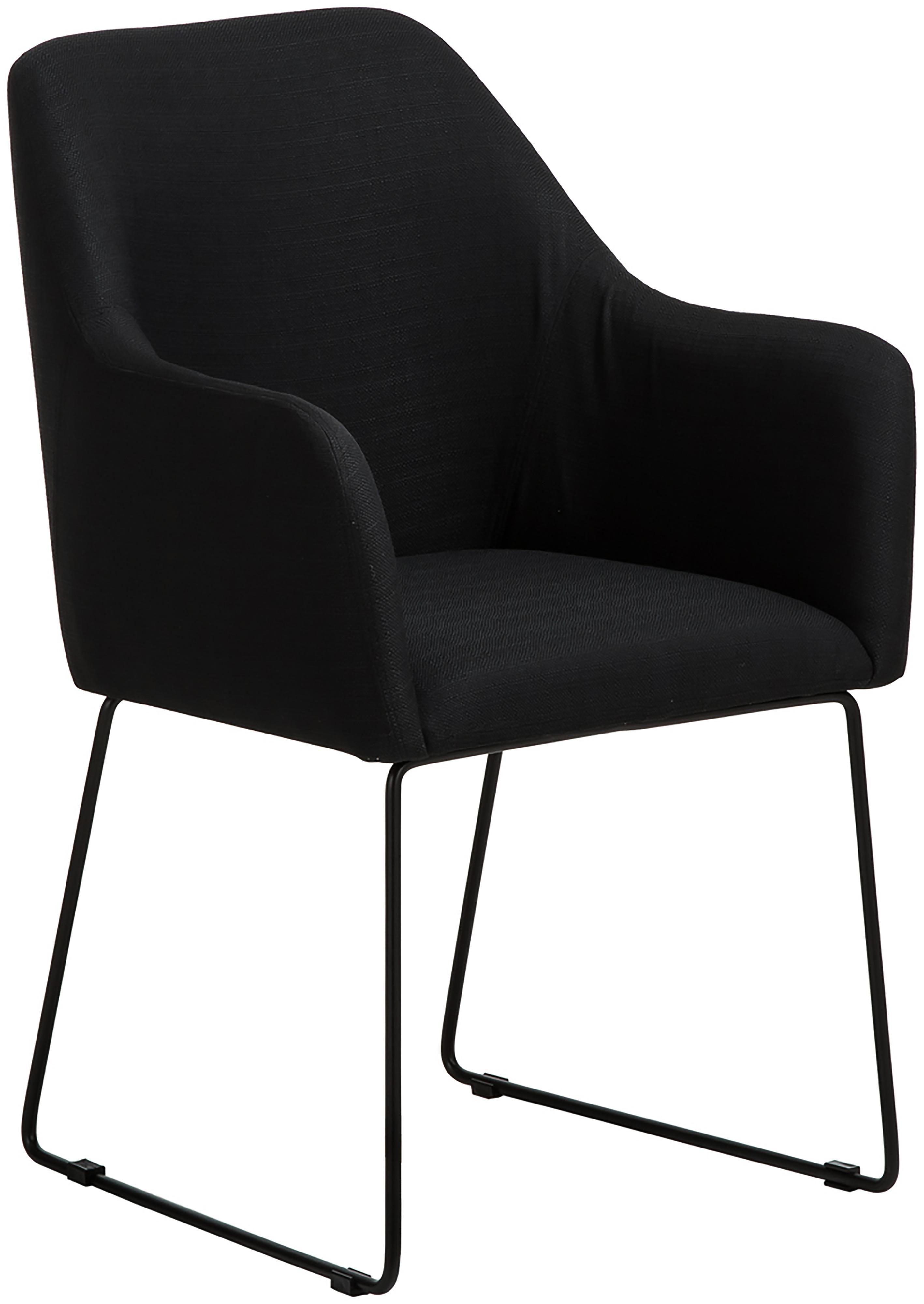 Krzesło tapicerowane z podłokietnikami Isla, Tapicerka: poliester Tkanina o wysok, Nogi: metal malowany proszkowo, Czarny, S 58 x G 62 cm