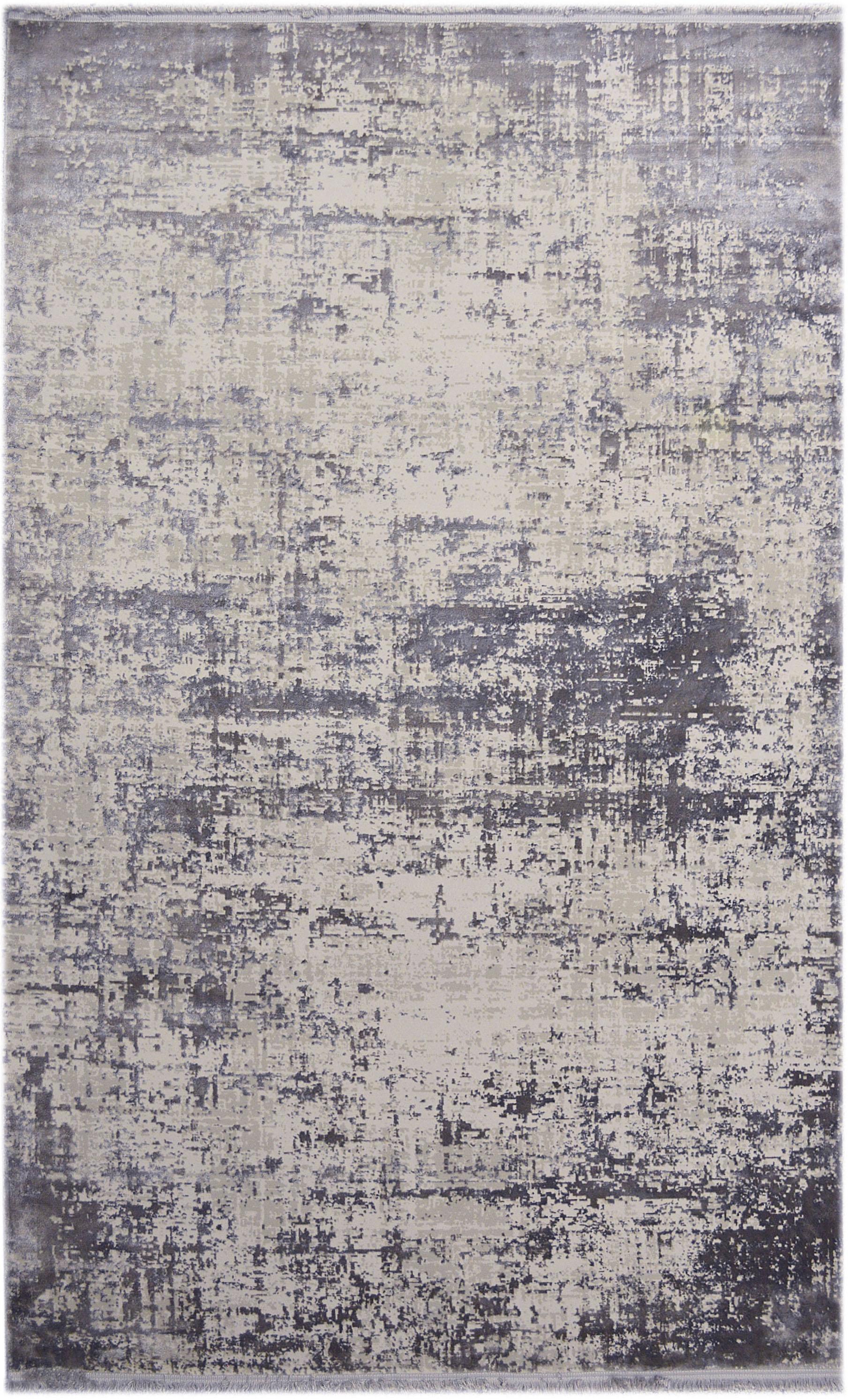Schimmernder Teppich Cordoba mit Fransen, Vintage Style, Flor: 70% Acryl, 30% Viskose, Grautöne mit leichtem Lilastich, B 130 x L 190 cm (Größe S)