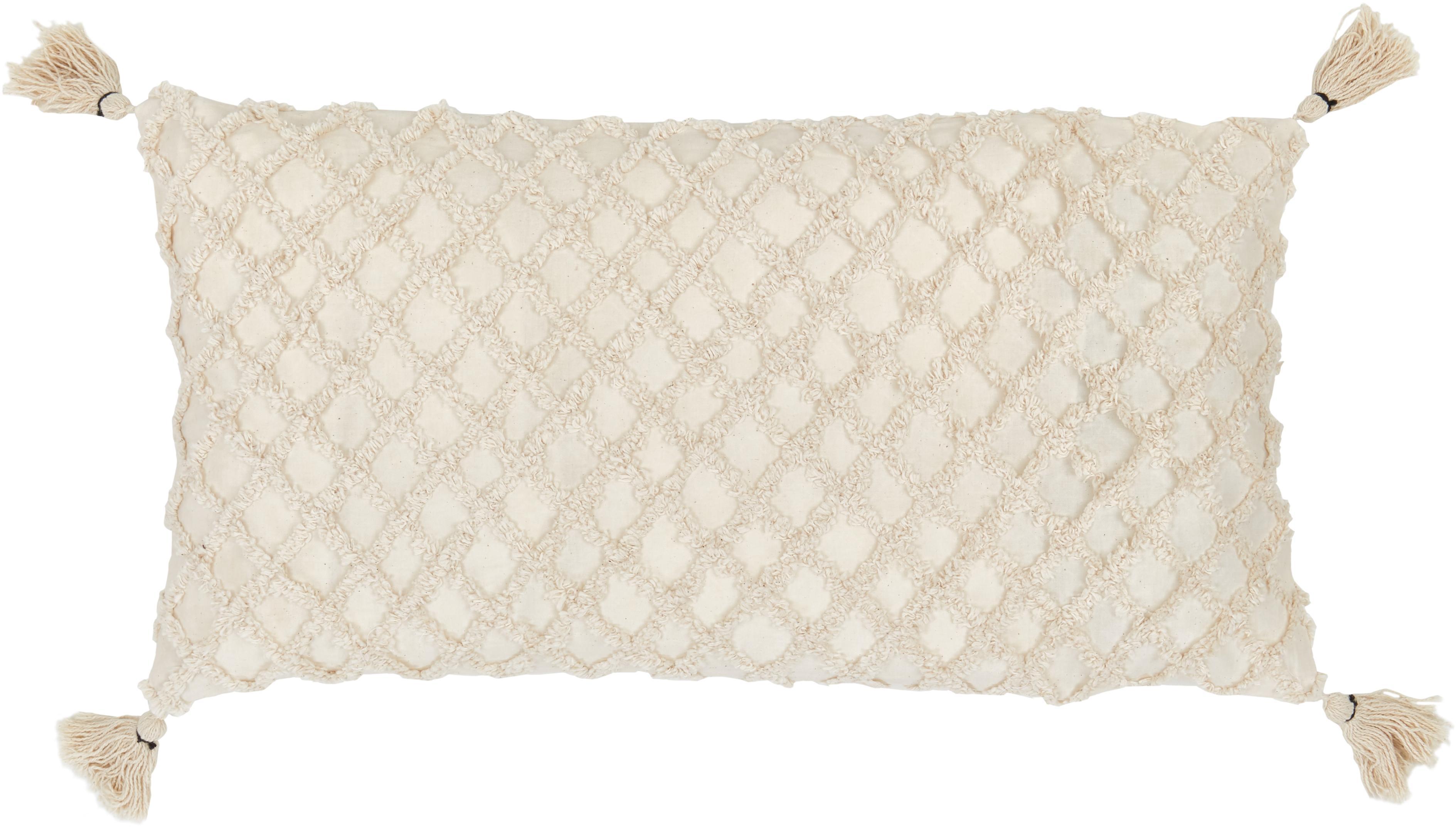 Funda de cojín texturizada Royal, Algodón, Blanco crudo, An 30 x L 60 cm