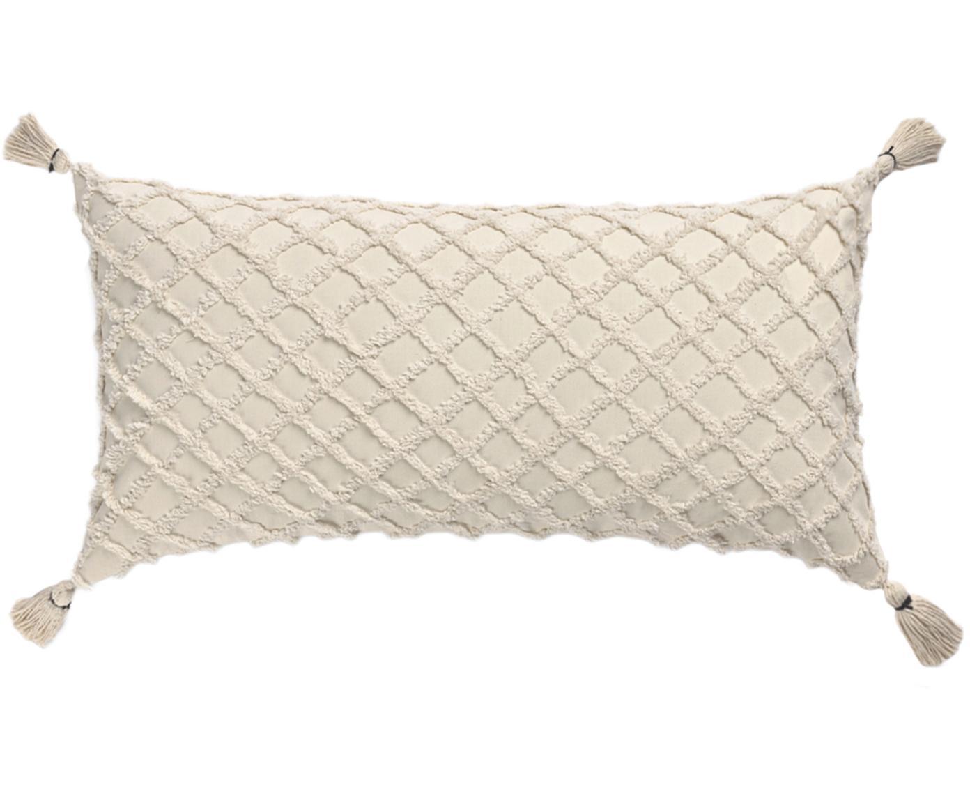 Poszewka na poduszkę z wypukłym wzorem Royal, Bawełna, Złamana biel, S 30 x D 60 cm