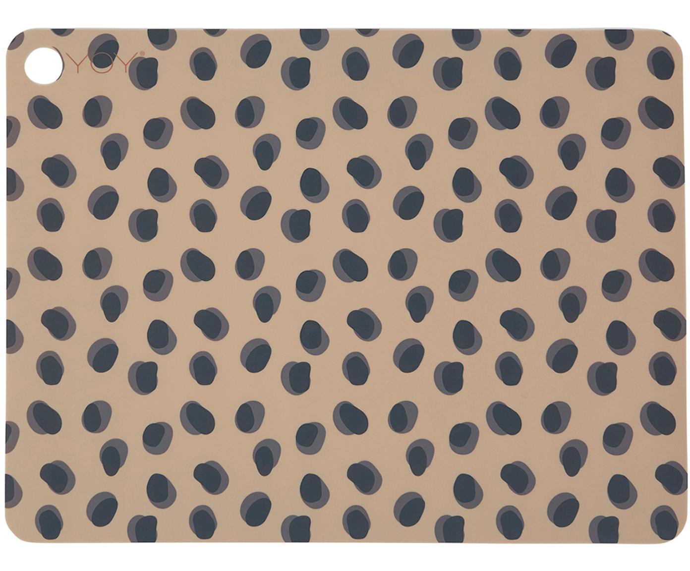Placemats Leopard, 2 stuks, Siliconen, Karamelbruin, zwart, 34 x 45 cm