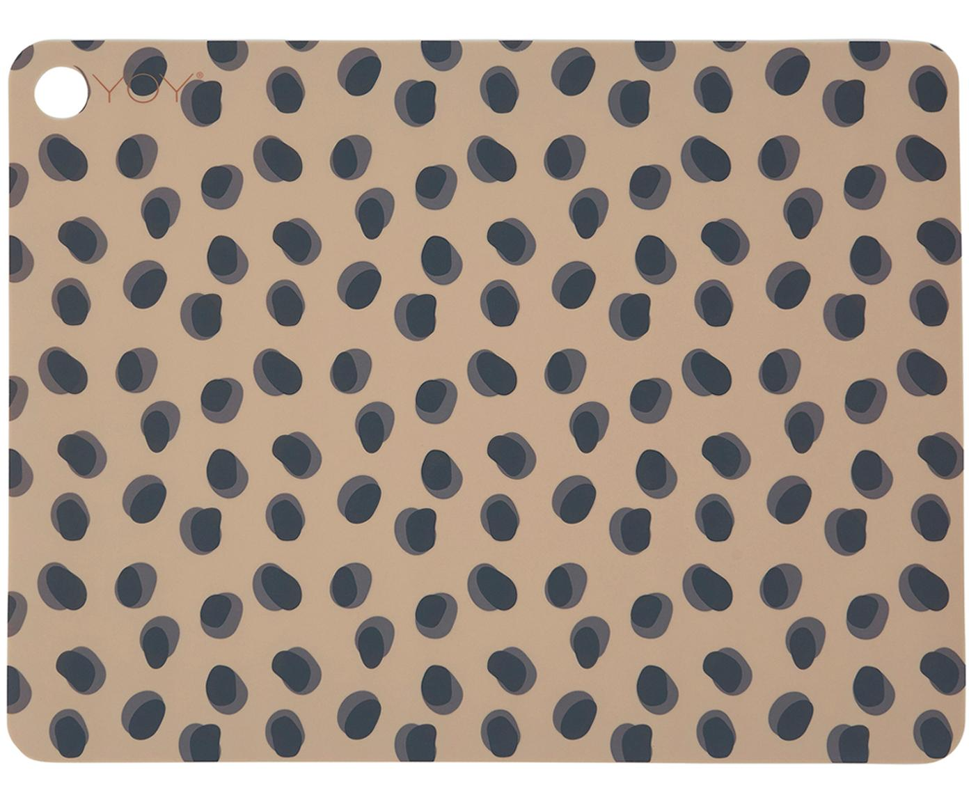 Silikon Tischsets Leopard, 2 Stück, Silikon, Karamellbraun, Schwarz, 34 x 45 cm
