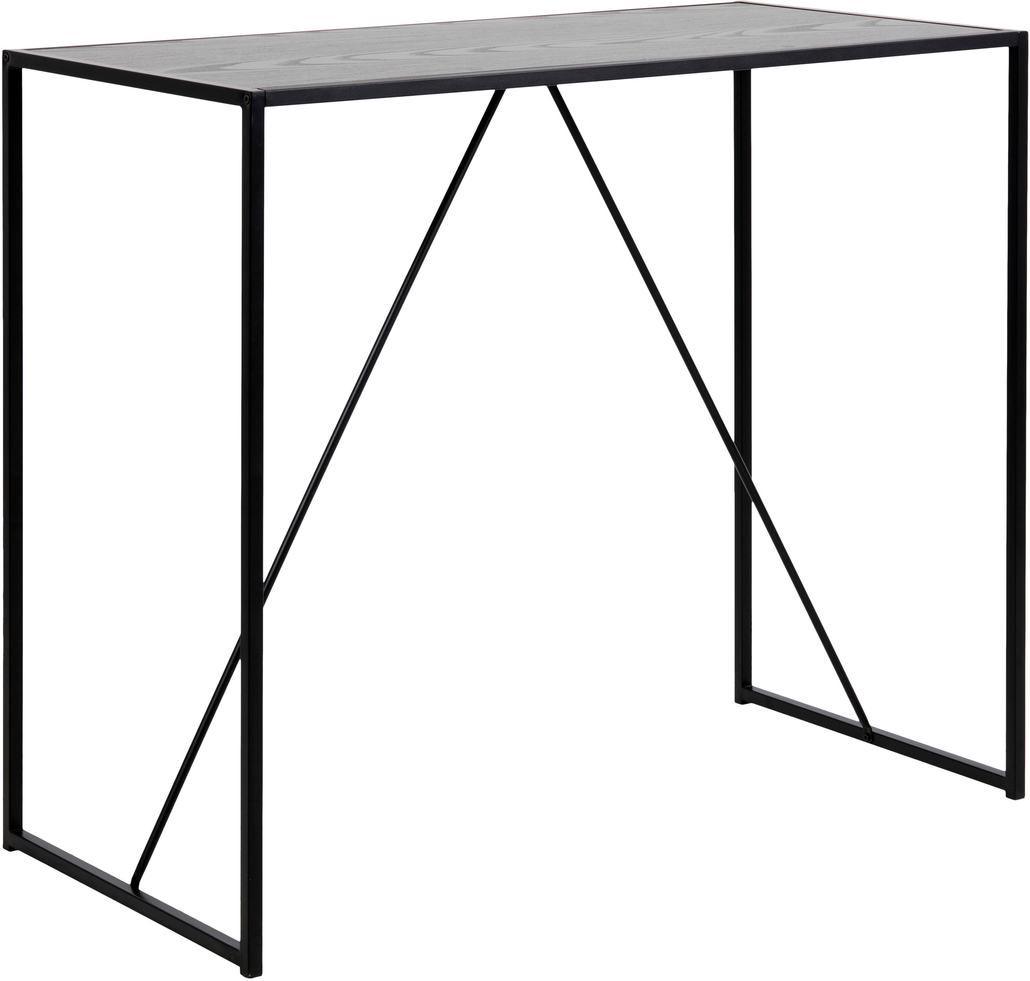 Bartafel Seaford van hout en metaal, Metaal, Melamine, essenhout, Zwart, B 120 x D 60 cm