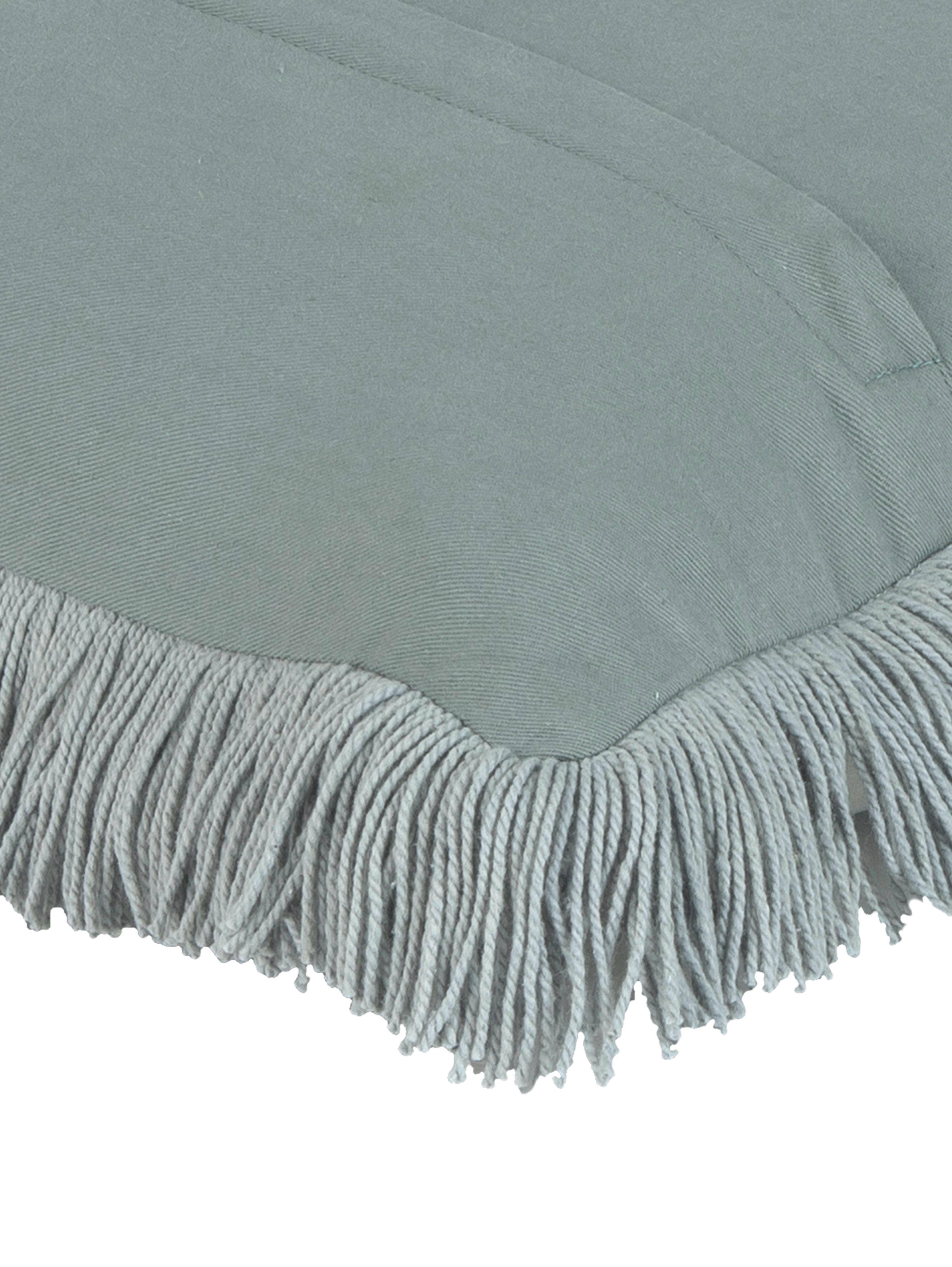 Sametový povlak na polštářs třásněmi Phoeby, Šalvějově zelená