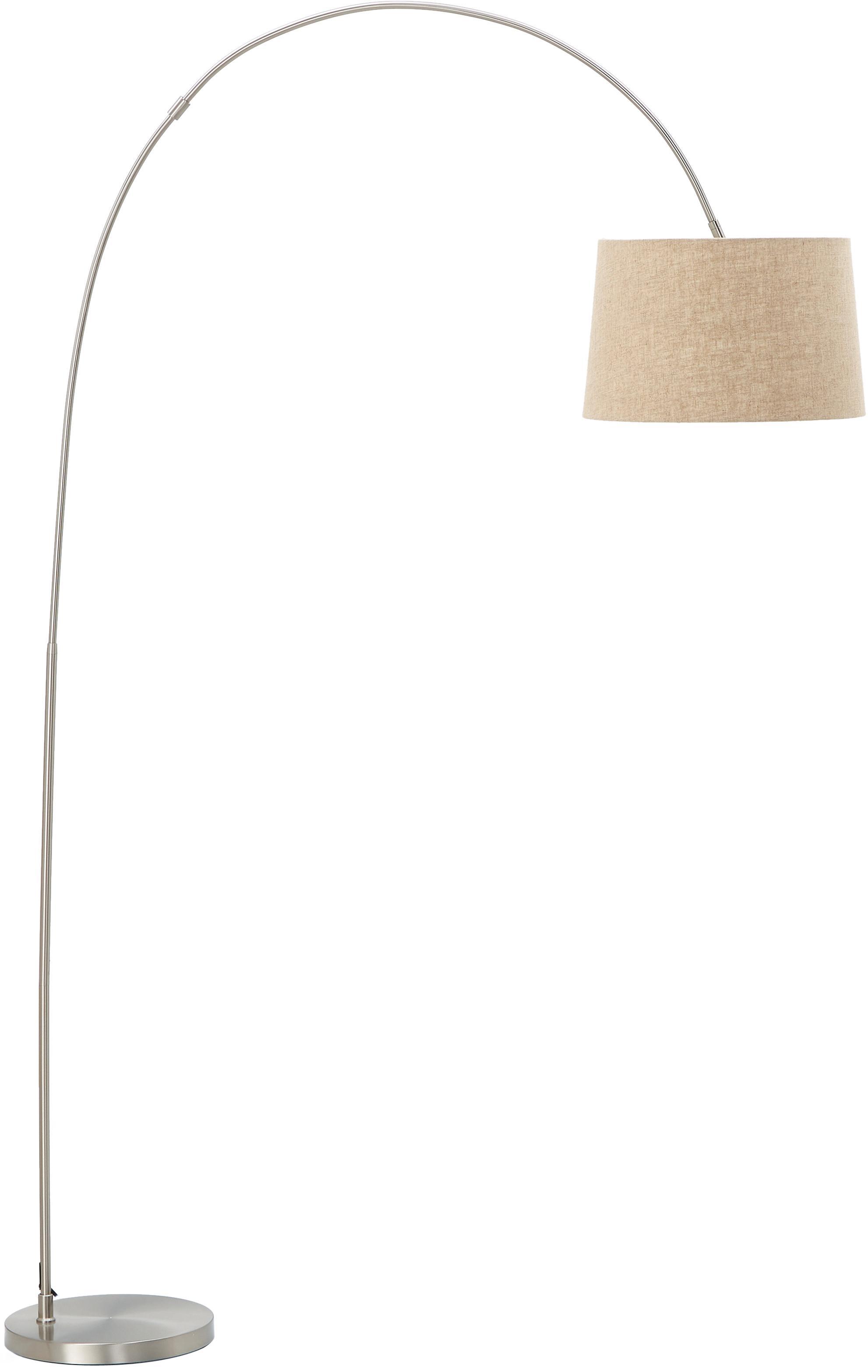 Bogenlampe Laurence mit Baumwollschirm, Lampenschirm: Baumwollgemisch, Lampenfuß: Metall, gebürstet, Beige,Silberfarben, ∅ 40 x H 188 cm