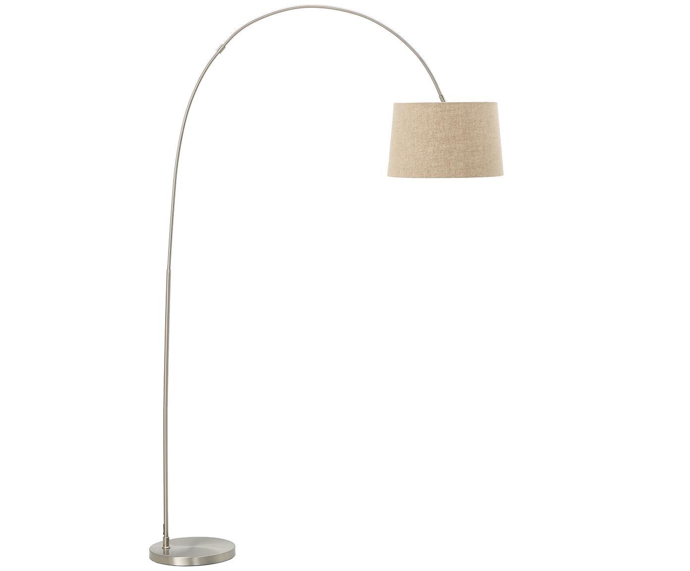 Lampada da terra ad arco Laurence, Paralume: miscela di cotone, Base della lampada: metallo, spazzolato, Beige, argentato, Ø 40 x Alt. 188 cm
