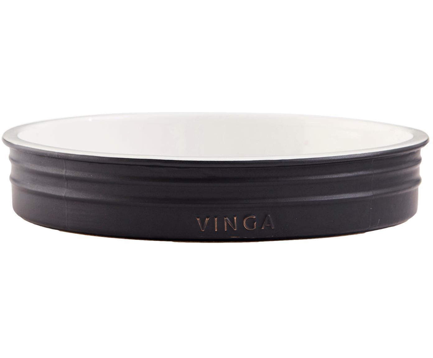 Molde para horno de gres Monte, Gres, Negro, blanco, Ø 26x Al 5 cm