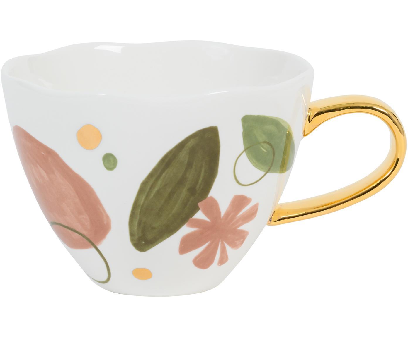 Tazza con manico dorato Expressive, Porcellana, Bianco. rosa, verde, dorato, Ø 11 x Alt. 9 cm