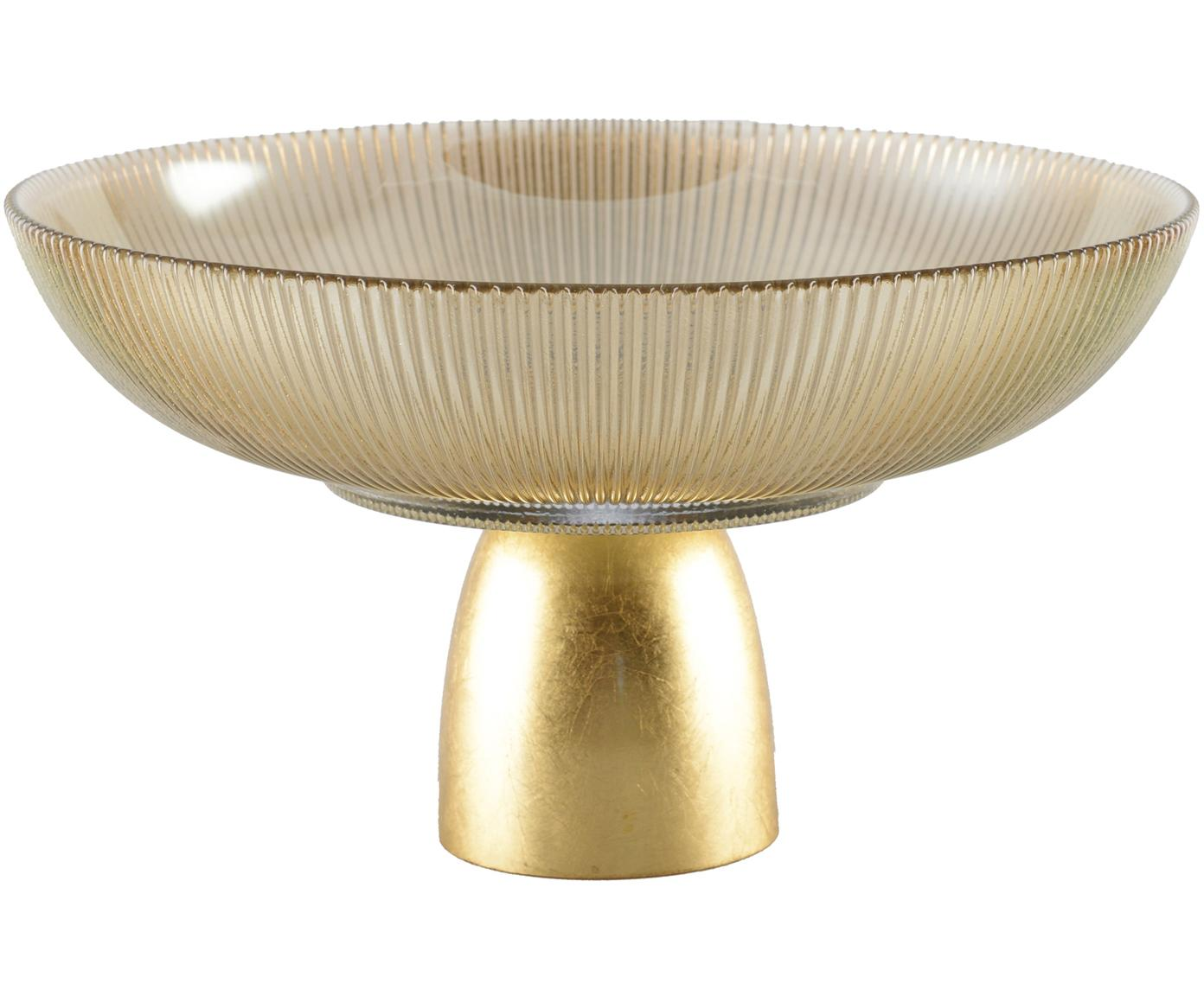 Deko-Schale Luster, Schale: Glas, Sockel: Metall, Bräunlich, transparent, Goldfarben, Ø 25 cm