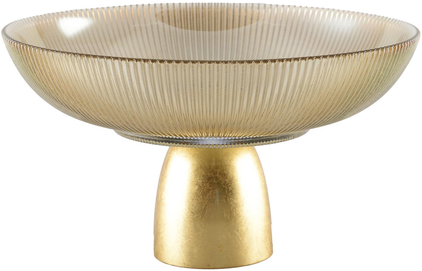 Decoratieve schaal Luster, Schaal: glas, Voetstuk: metaal, Bruin, transparant, goudkleurig, Ø 25 cm