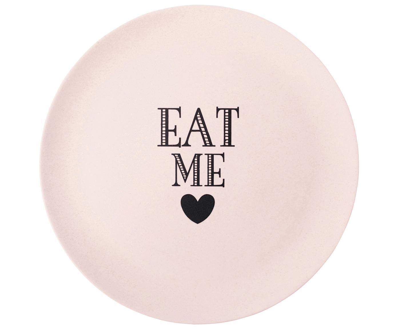 Frühstücksteller Eat Me, Bambus, Melamin, Pink, Ø 25 cm