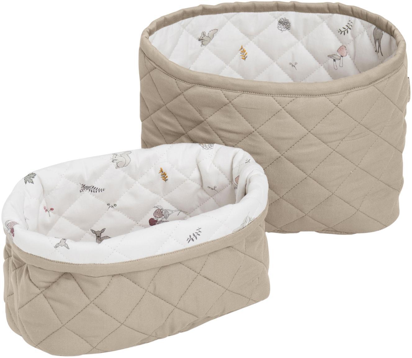 Set de cestas Fawn, 2pzas., Exterior: algodón orgánico, Blanco, marrón, beige, Set de diferentes tamaños