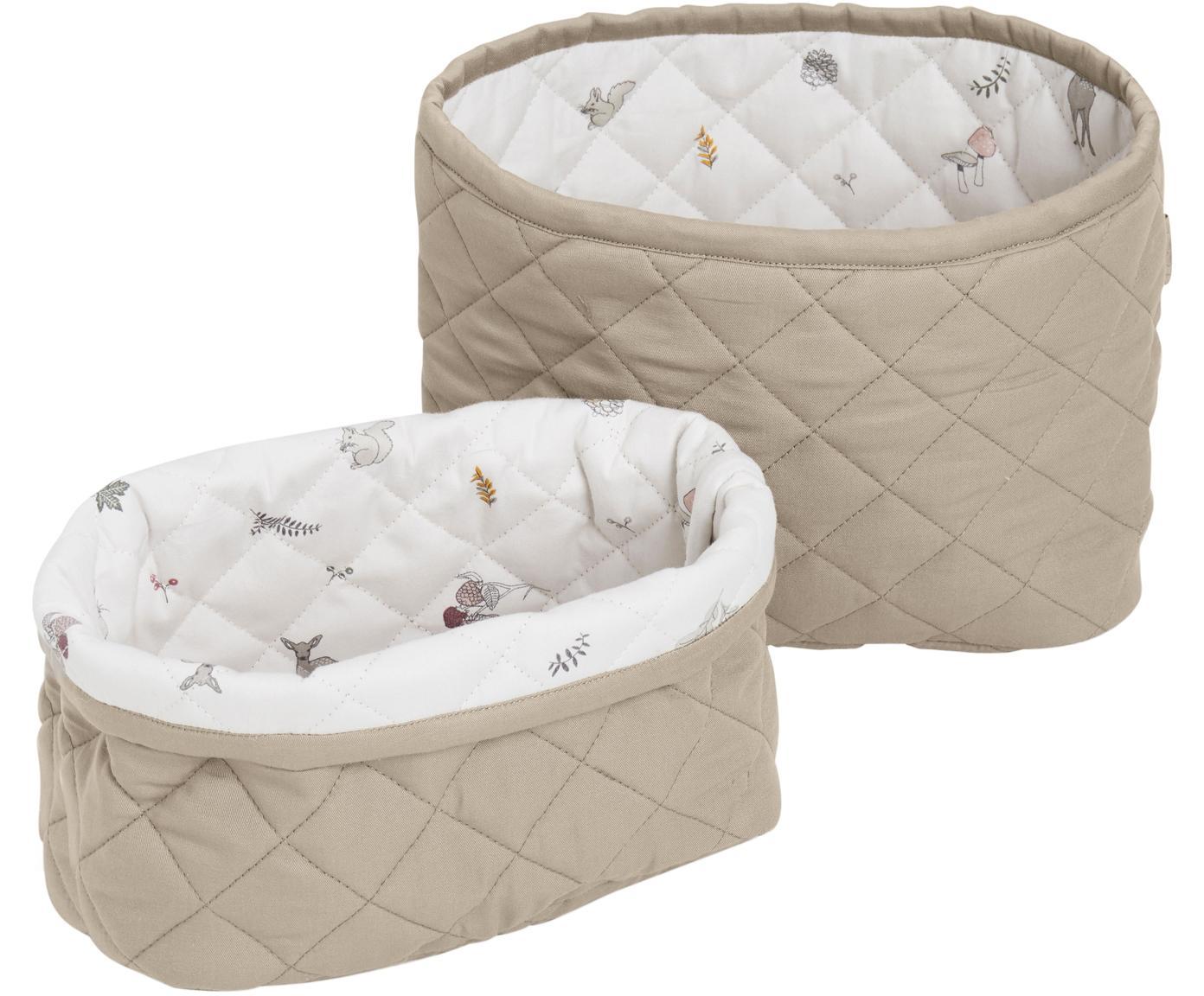 Aufbewahrungskörbe-Set Fawn aus Bio-Baumwolle, 2-tlg., Bezug: Bio-Baumwolle, Weiß, Braun, Beige, Sondergrößen