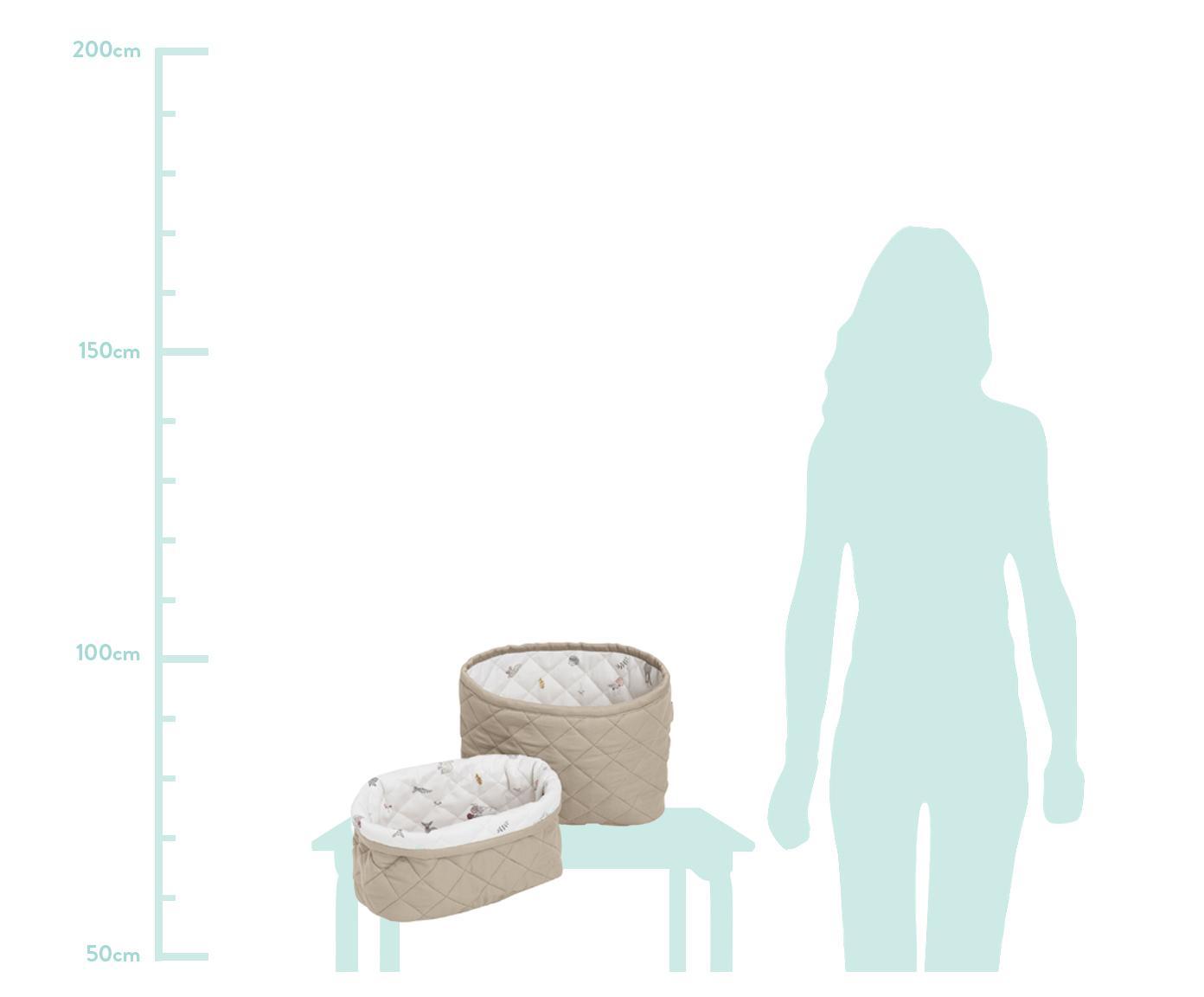Komplet koszy do przechowywania  z bawełny organicznej Fawn, 2 elem., Tapicerka: bawełna organiczna, Biały, brązowy, beżowy, Różne rozmiary
