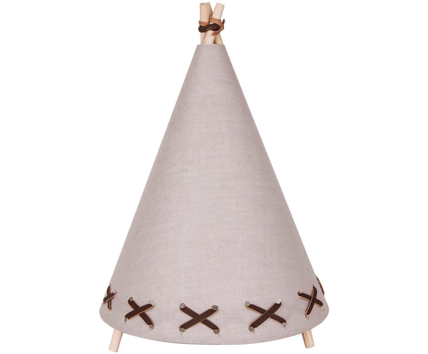 Lampa stołowa LED z lnu Tipi, Stelaż: drewno naturalne, Jasny brązowy, beżowy, Ø 20 x W 29 cm