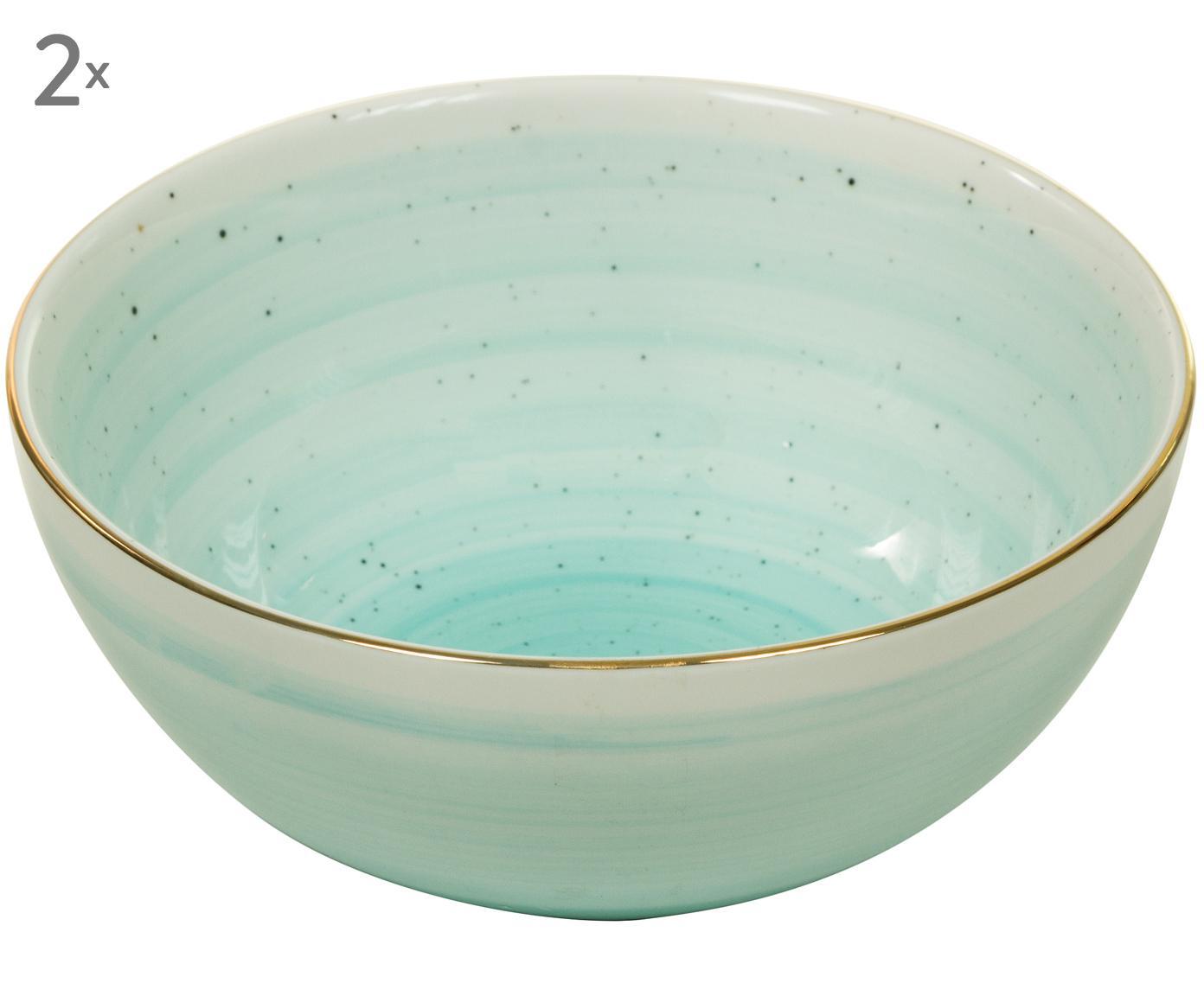 Handgemachte Schälchen Bol mit Goldrand, 2 Stück, Porzellan, Türkisblau, Ø 12 x H 6 cm