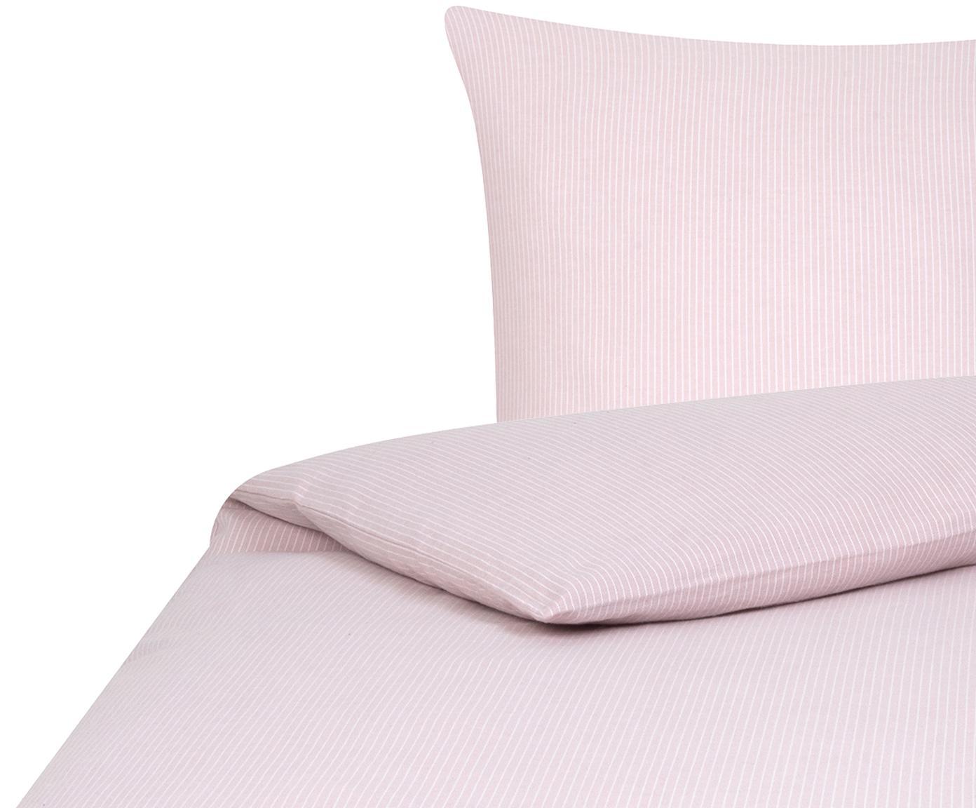 Flanell-Bettwäsche Rae, fein gestreift, Webart: Flanell Flanell ist ein s, Rosa, Weiß, 135 x 200 cm