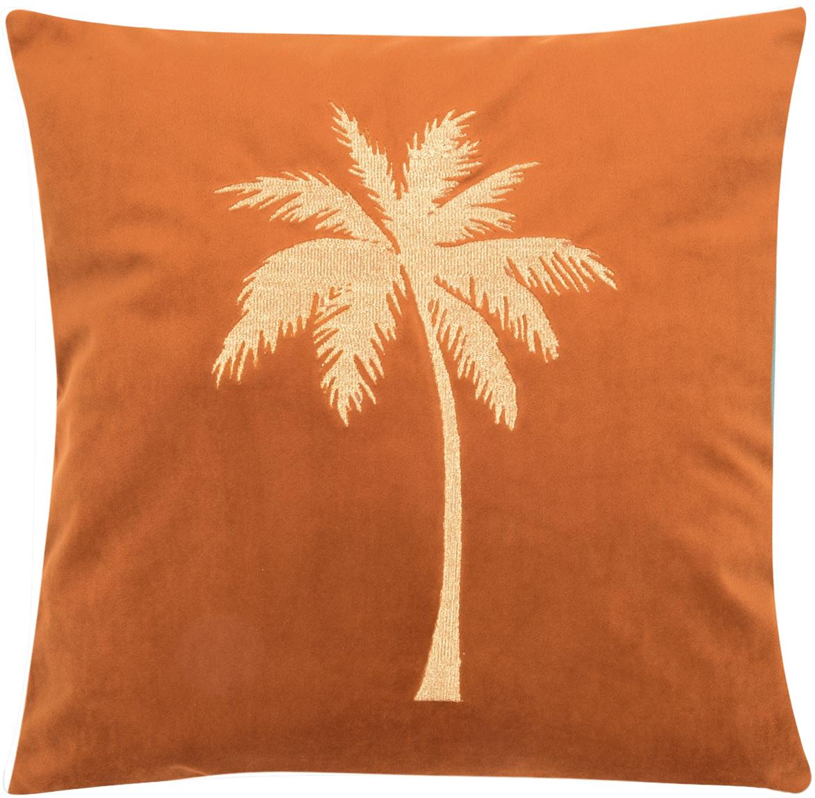 Funda de cojín bordada de terciopelo brillante Palmsprings, 100%terciopelo de poliéster, Naranja, dorado, An 40 x L 40 cm