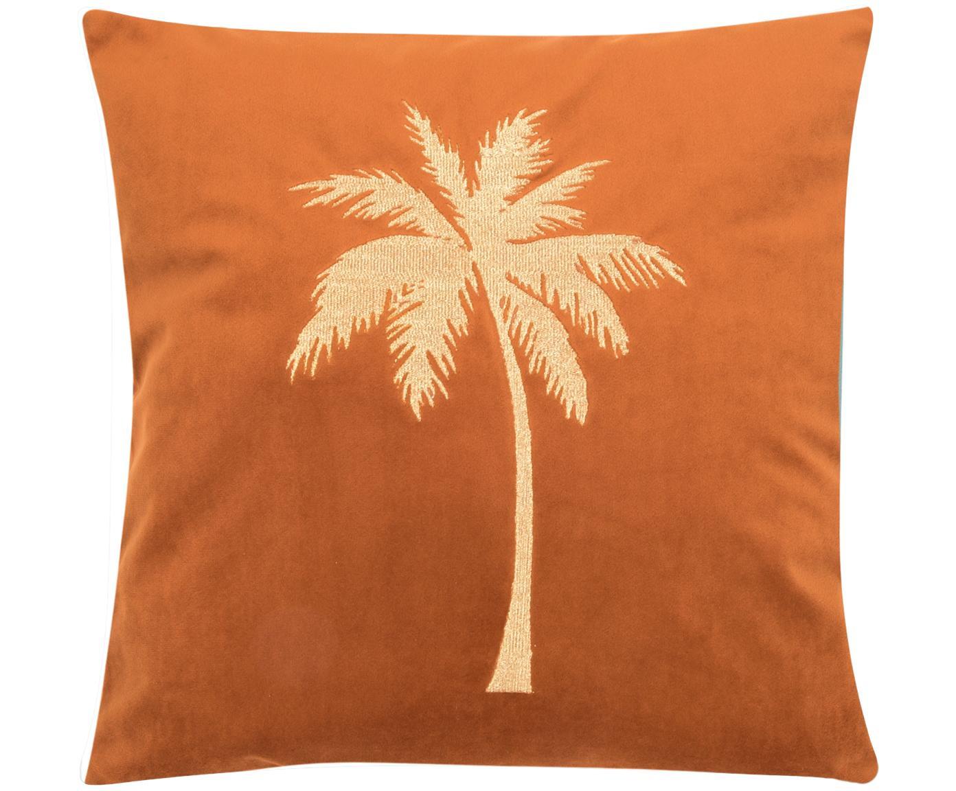 Funda de cojín bordada de terciopelo brillante Palmsprings, Terciopelo de poliéster, Naranja, dorado, An 40 x L 40 cm