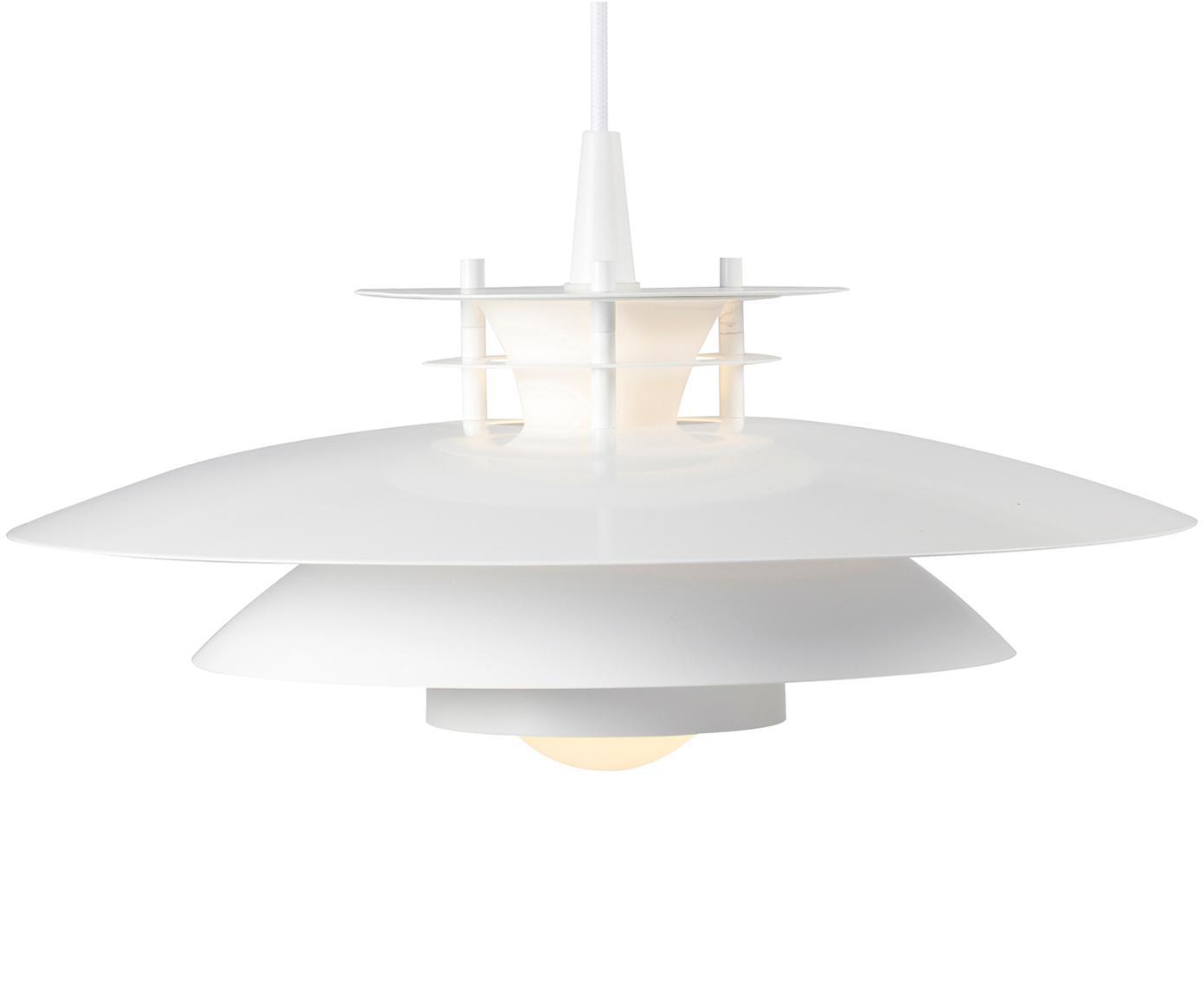 Lámpara de techo Ledi, estilo escandinavo, Pantalla: metal recubierto, Cable: cubierto en tela, Blanco, Ø 40 x Al 23 cm