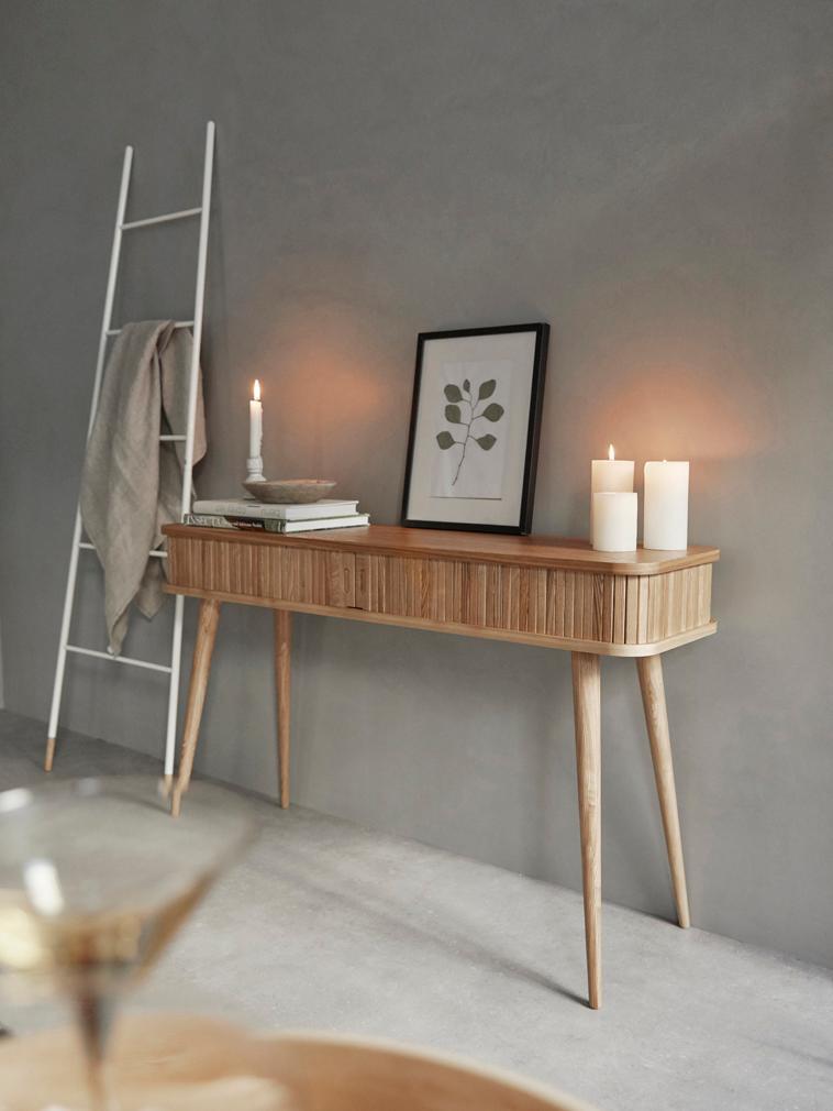 Consola de madera Barbier, Estructura: tablero de fibras de dens, Marrón, fresno, An 120 x F 35 cm