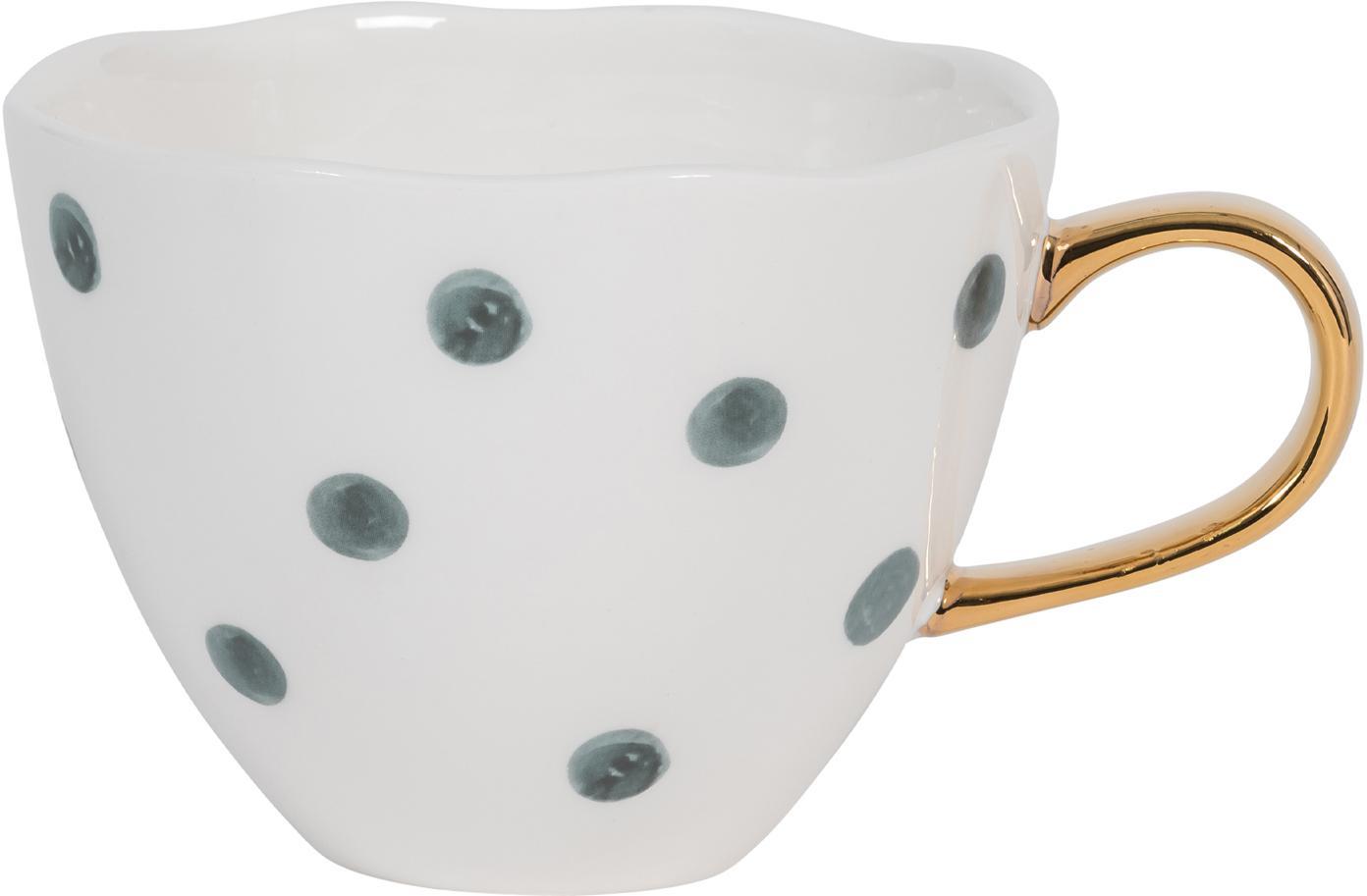 Kopje Good Morning met goudkleurige handvat, New Bone China, Wit, blauw, Ø 11 x H 8 cm