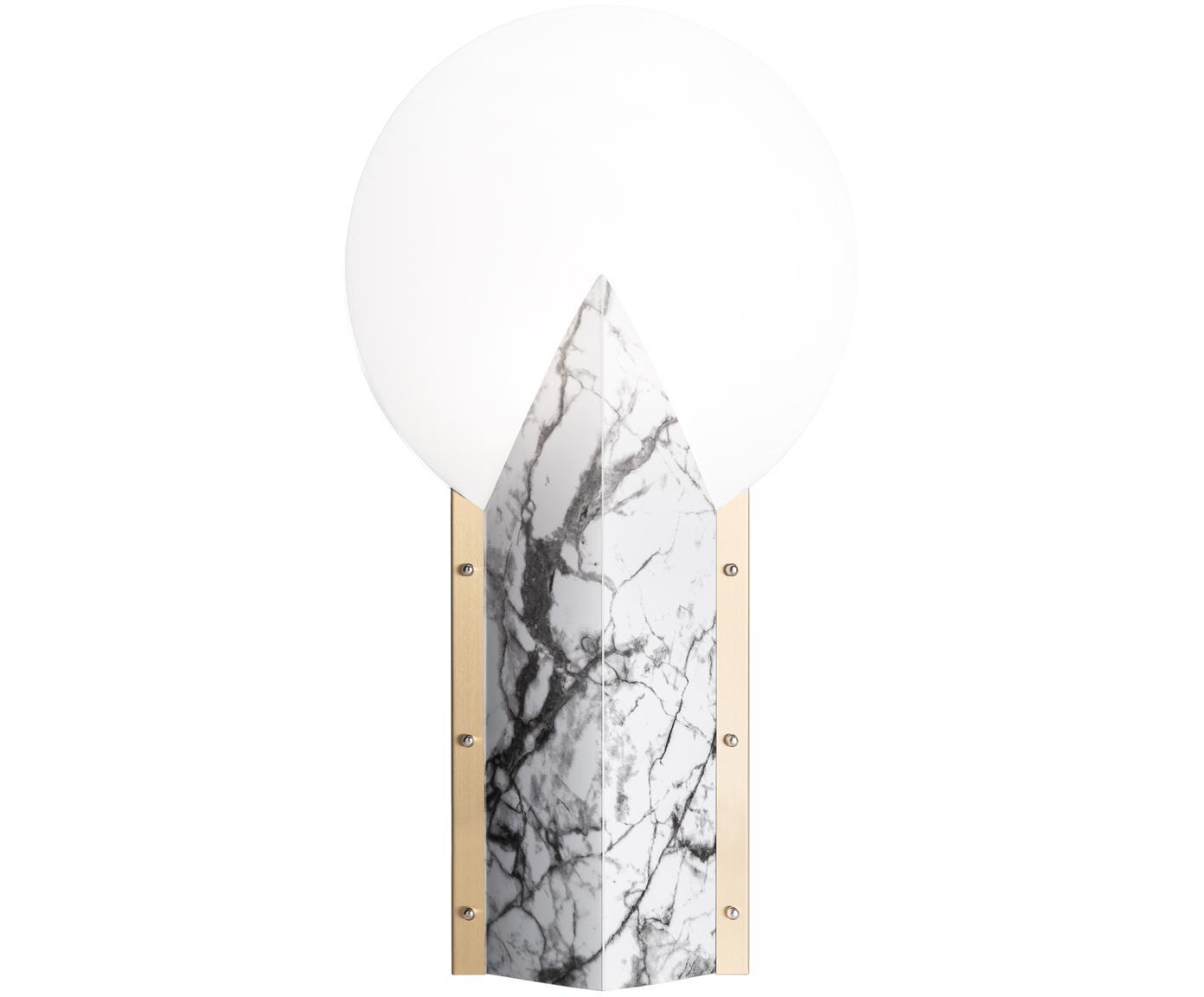 Design tafellamp Moon, Lampenkap: technopolymeer Opalflex®,, Lampvoet: gecoat aluminium, Rand: geborsteld messing, Wit, 30 x 57 cm