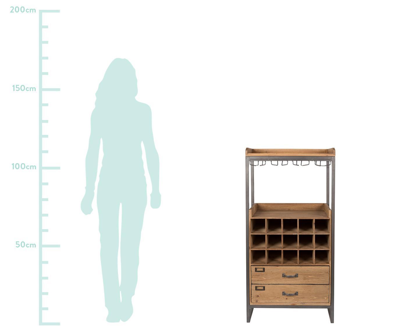 Portabottiglie per 15 bottiglie Edgar, Struttura: metallo verniciato a polv, Marrone, Larg. 56 x Alt. 113 cm