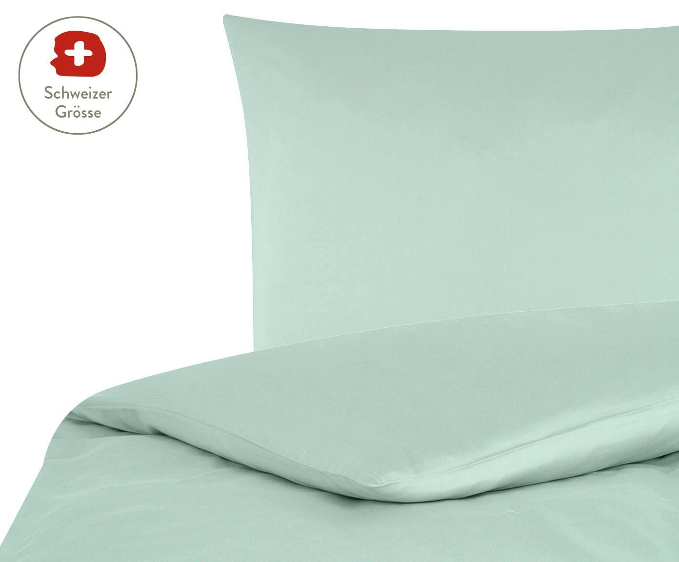Baumwollsatin-Bettdeckenbezug Comfort in Salbeigrün, Webart: Satin, leicht glänzend, Salbeigrün, 160 x 210 cm
