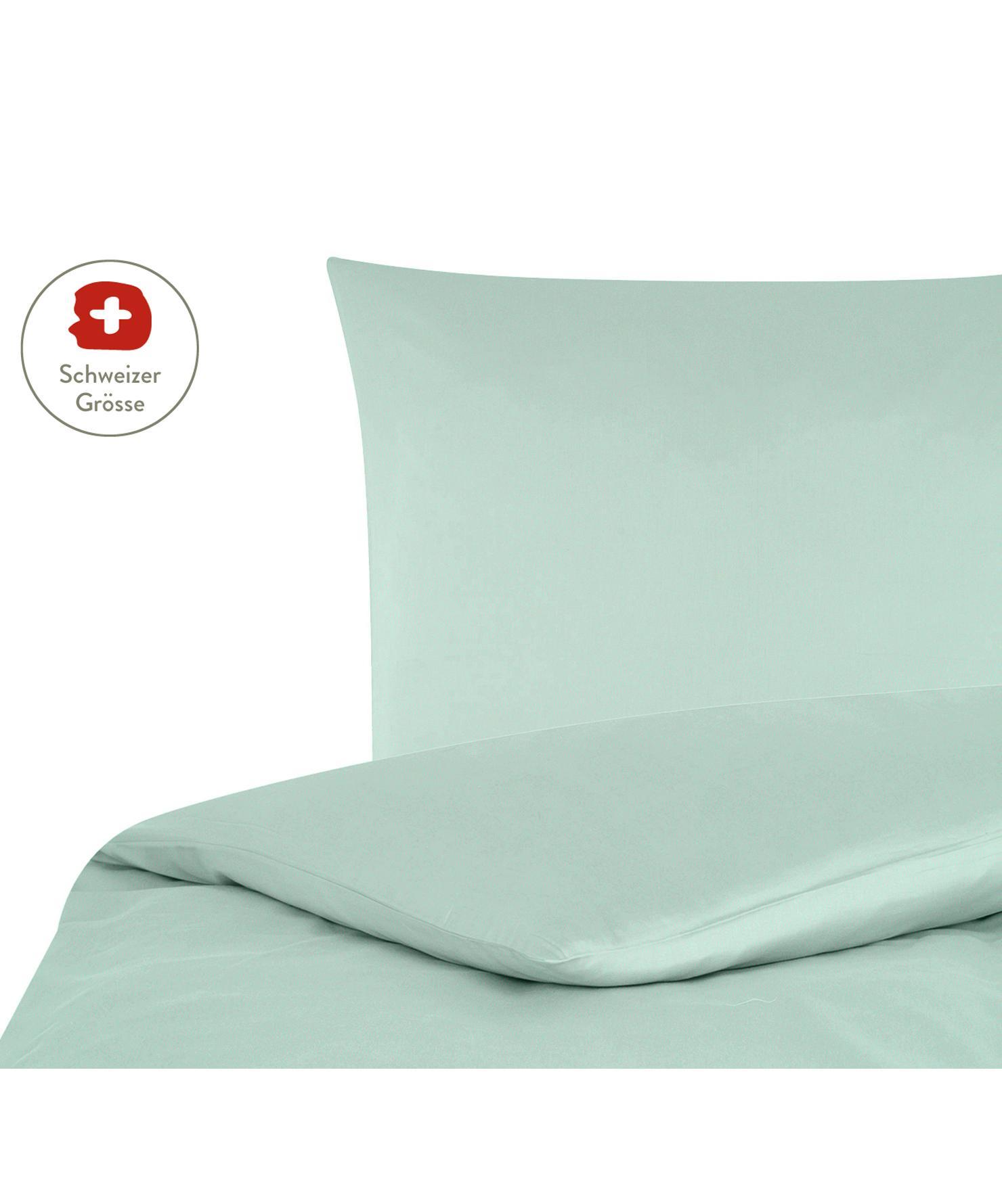 Baumwollsatin-Bettdeckenbezug Comfort in Salbeigrün, Webart: Satin, leicht glänzend Fa, Salbeigrün, 160 x 210 cm