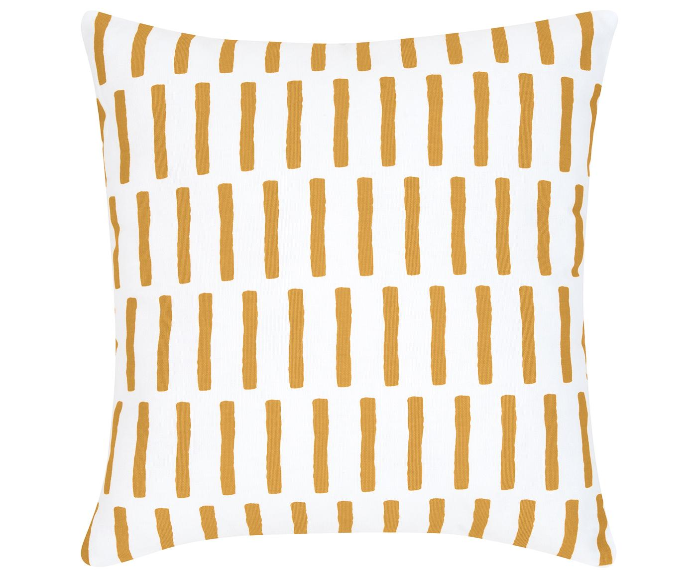 Federa arredo Jerry, Cotone, Giallo senape, bianco, Larg. 40 x Lung. 40 cm