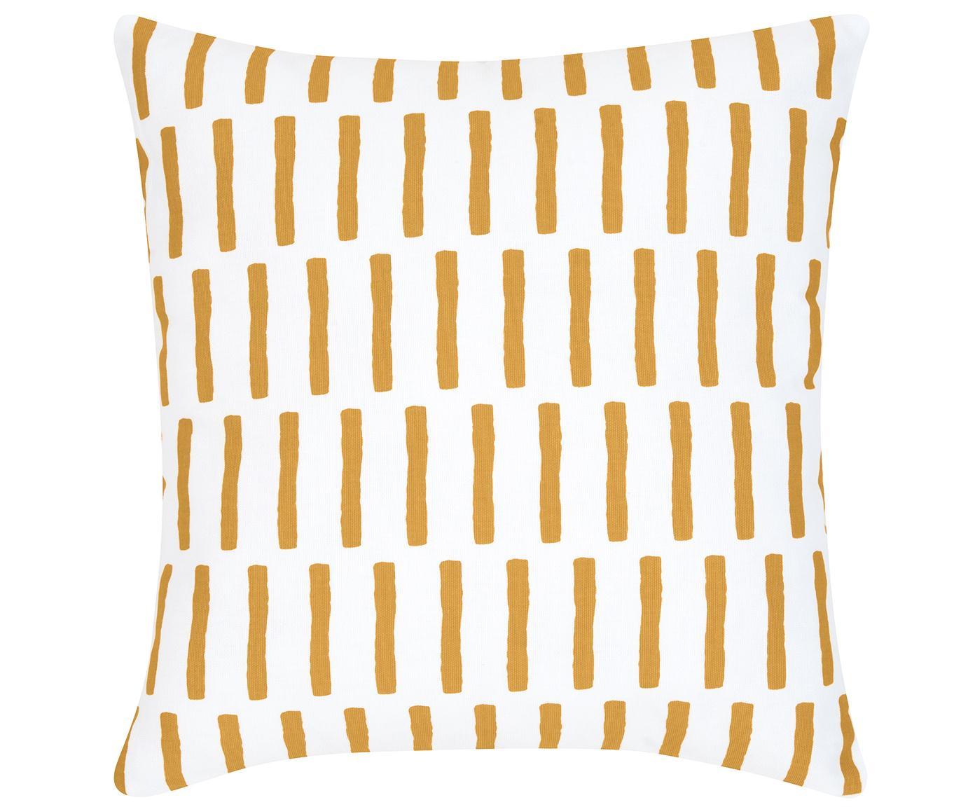 Poszewka na poduszkę Jerry, Bawełna, Musztardowy, biały, S 40 x D 40 cm