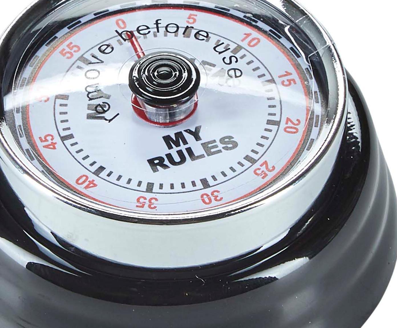 Eieruhr My Rules im Retro Style, Metall, beschichtet, Kunststoff, Schwarz, Ø 7 x H 3 cm