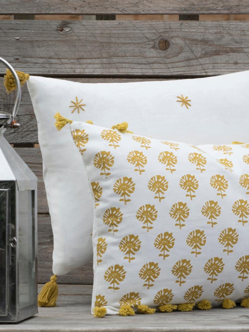 Kissenhülle Poesy mit Quasten, 100% Baumwolle, Weiß, Gelb, 30 x 50 cm