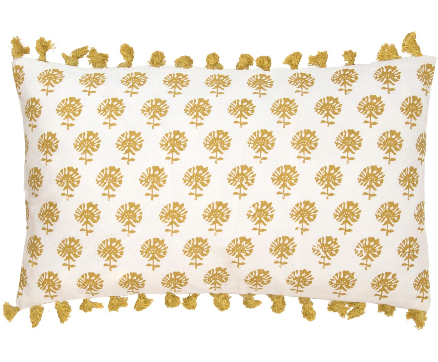 Funda de cojín con borlas Poesy, Algodón, Blanco, amarillo, An 30 x L 50 cm