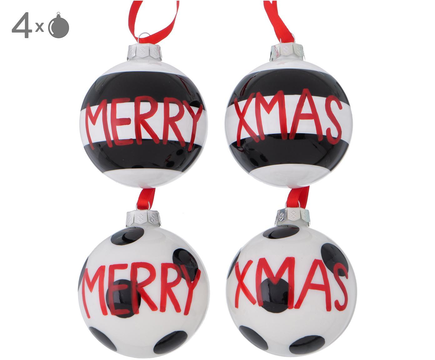 Kerstballenset Tolea, 4-delig, Zwart, wit, rood, Ø 8 cm